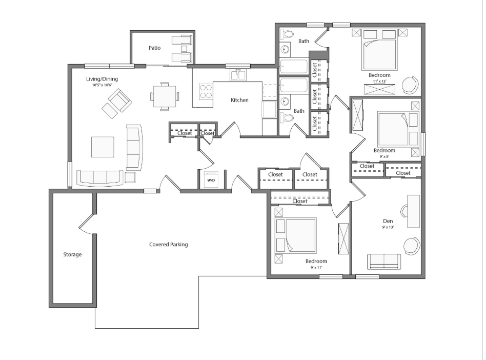 Pebble Beach Renovated house floor plan diagram. Four bedrooms, two bathrooms, a kitchen, an open living and dining area with doors to a patio, a laundry nook, and a covered parking area.