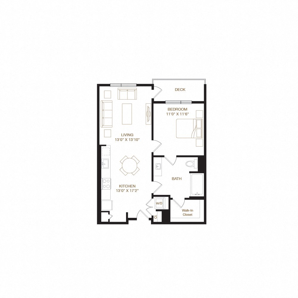 Mission Two floor plan diagram. One bedroom, one bathroom, an open kitchen and living area, a washer dryer, and a deck.