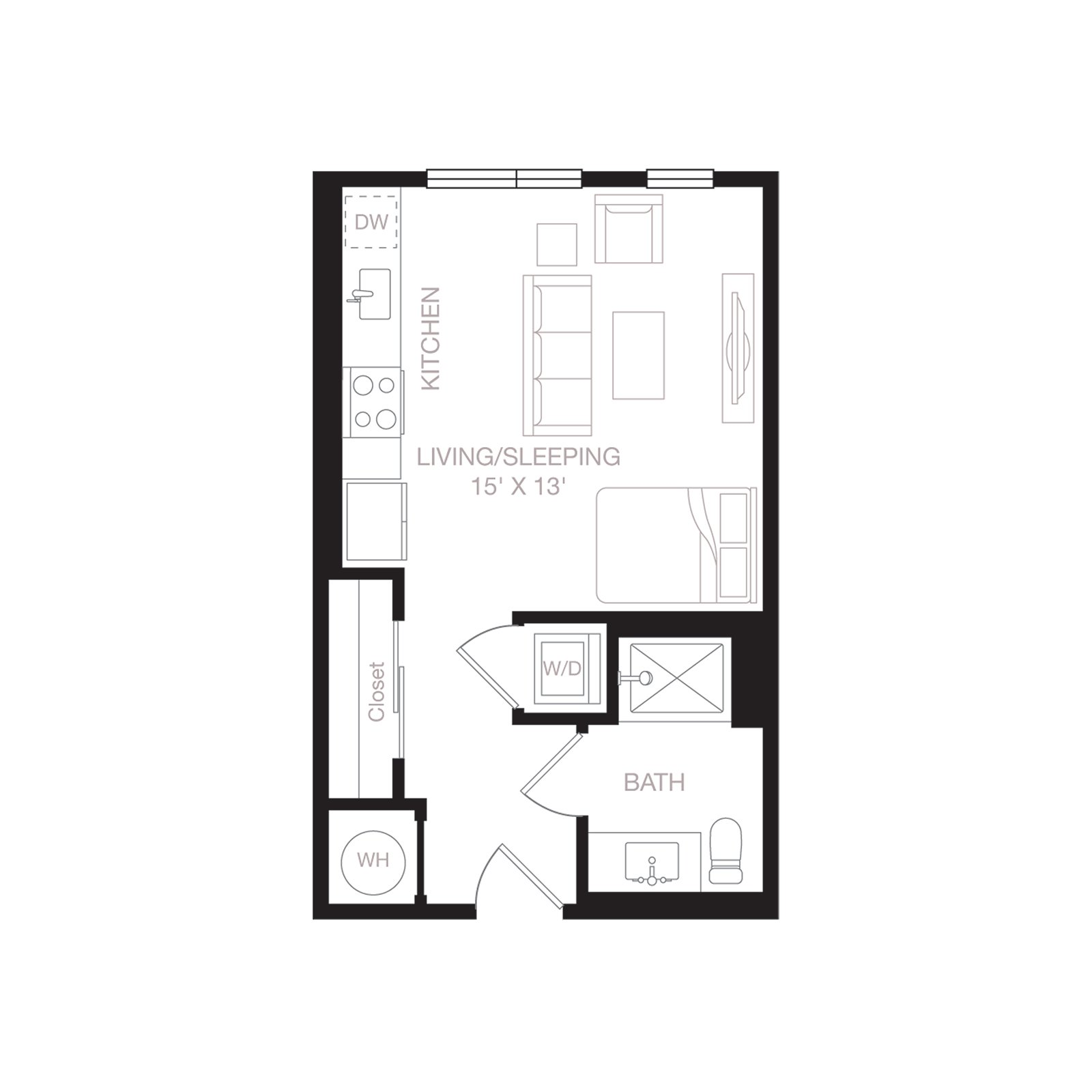 S1 | 0 Bed | 1 Bath diagram
