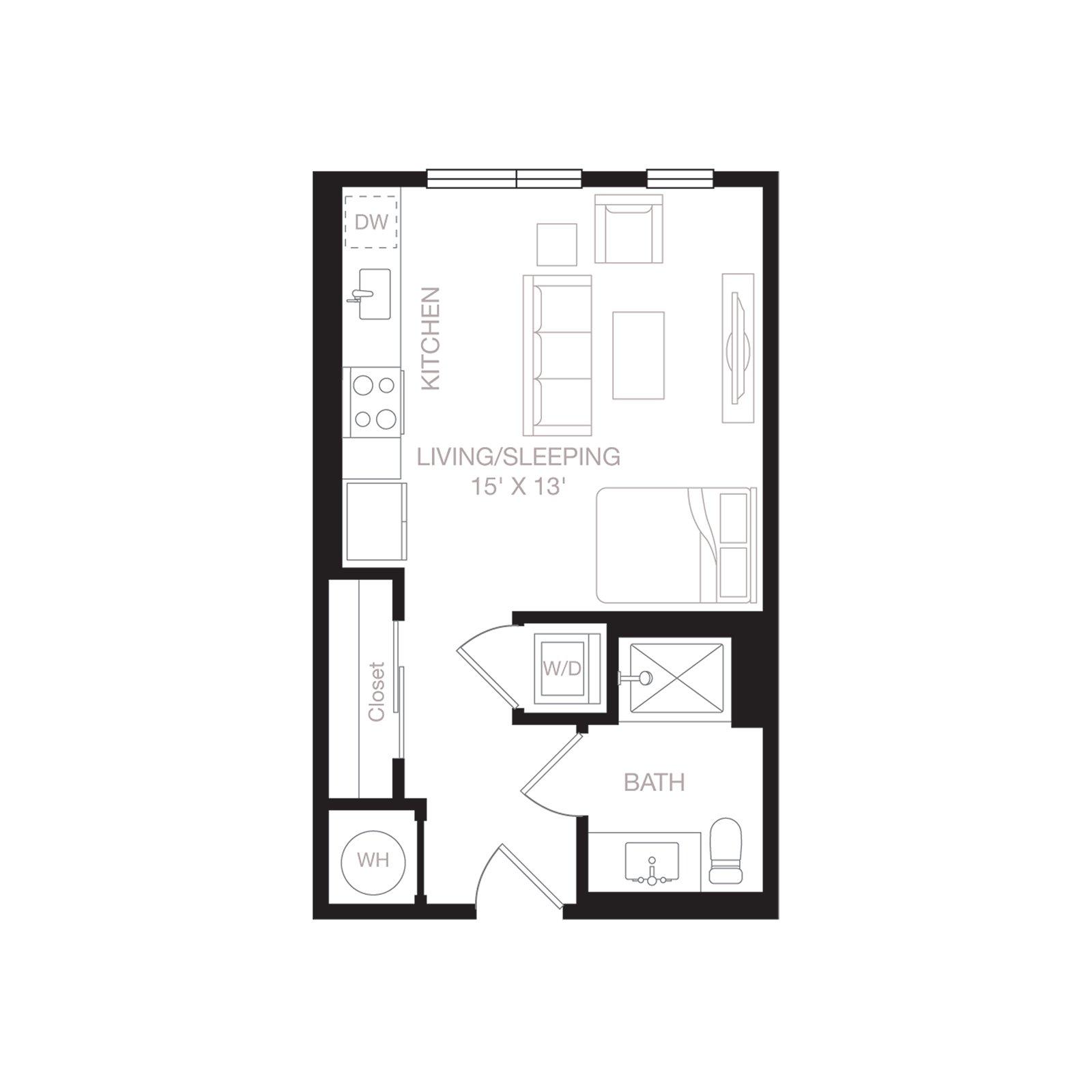 S1 | 0 Bed | 1 Bath diagram