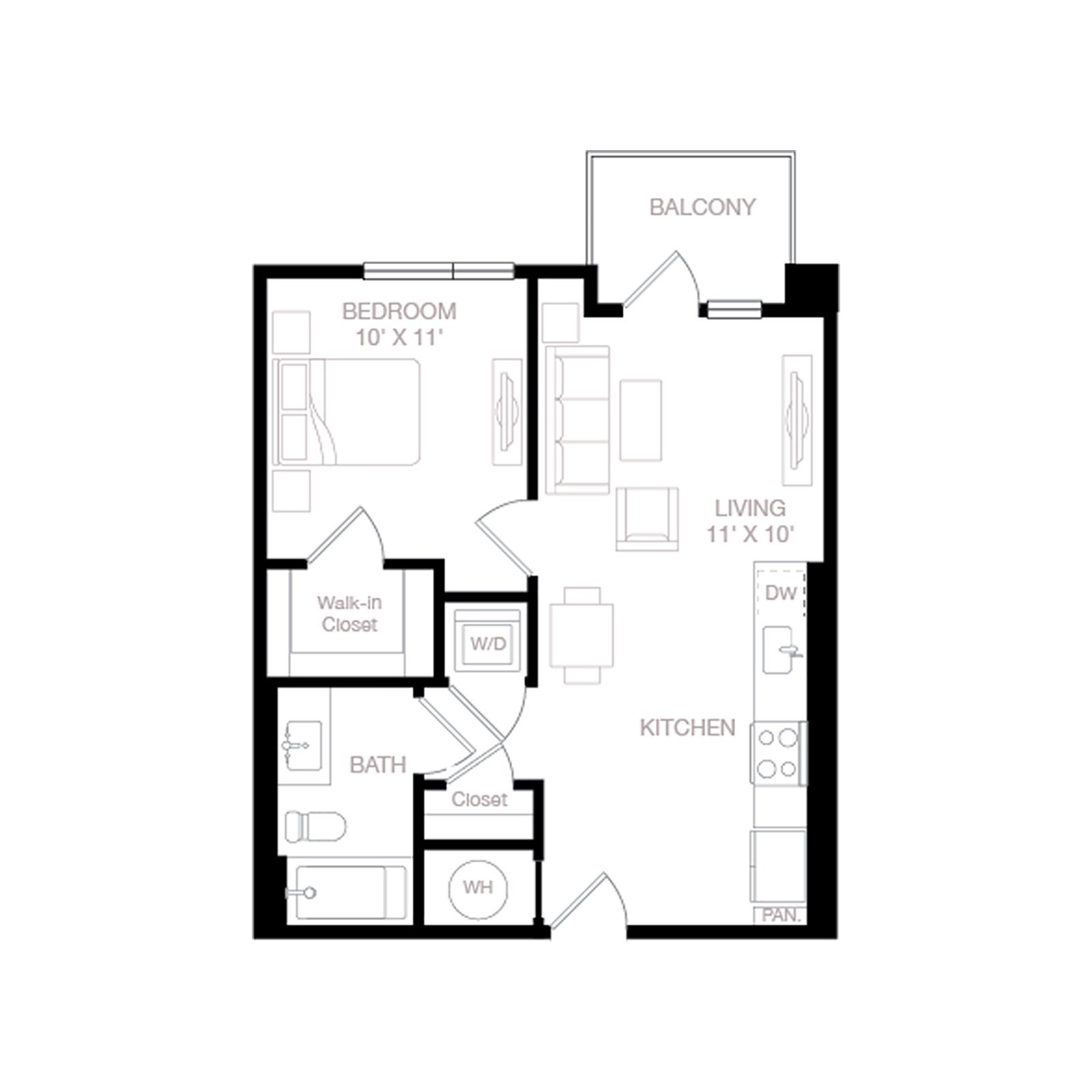 A1 | 1 Bed | 1 Bath diagram