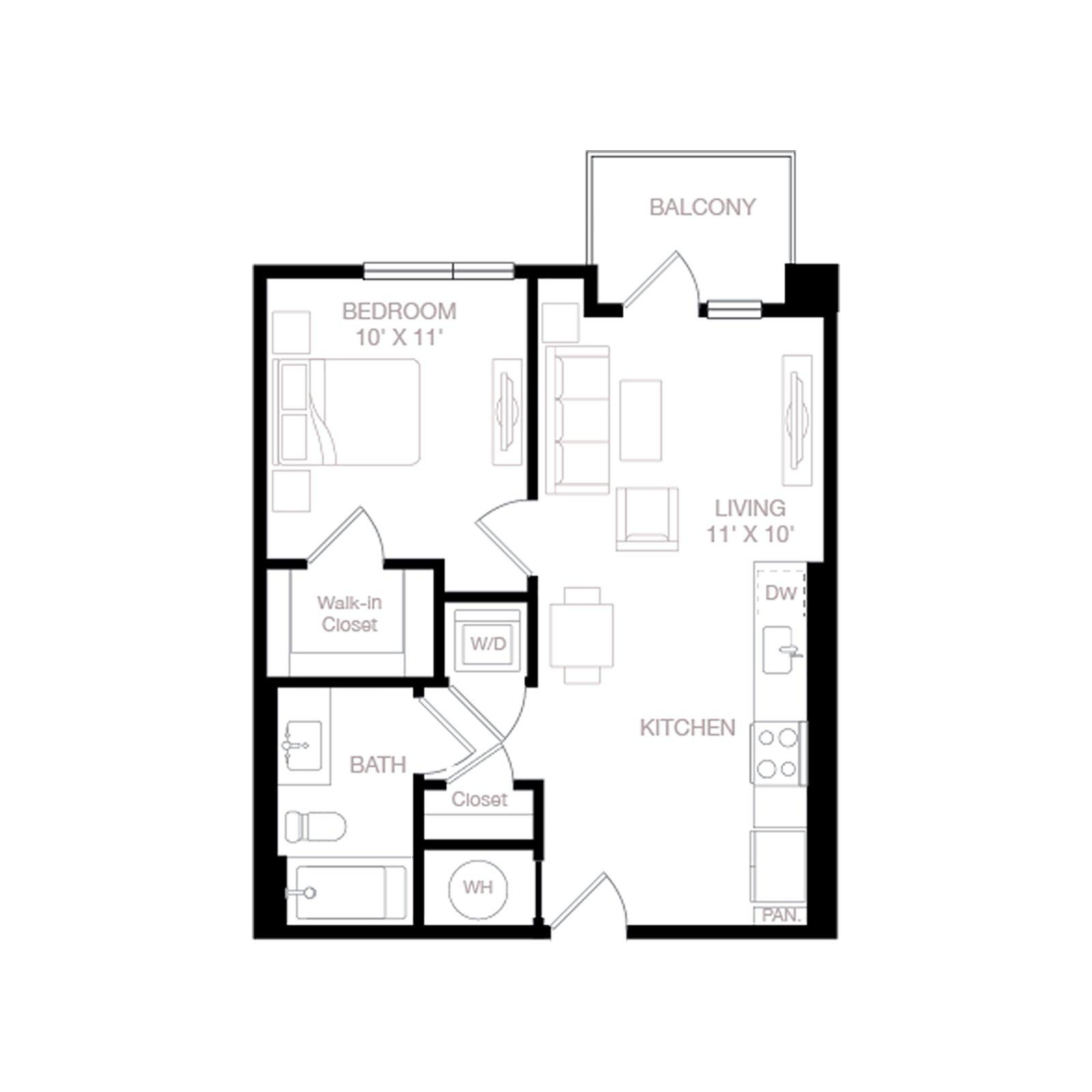 A1 | 1 Bed | 1 Bath diagram