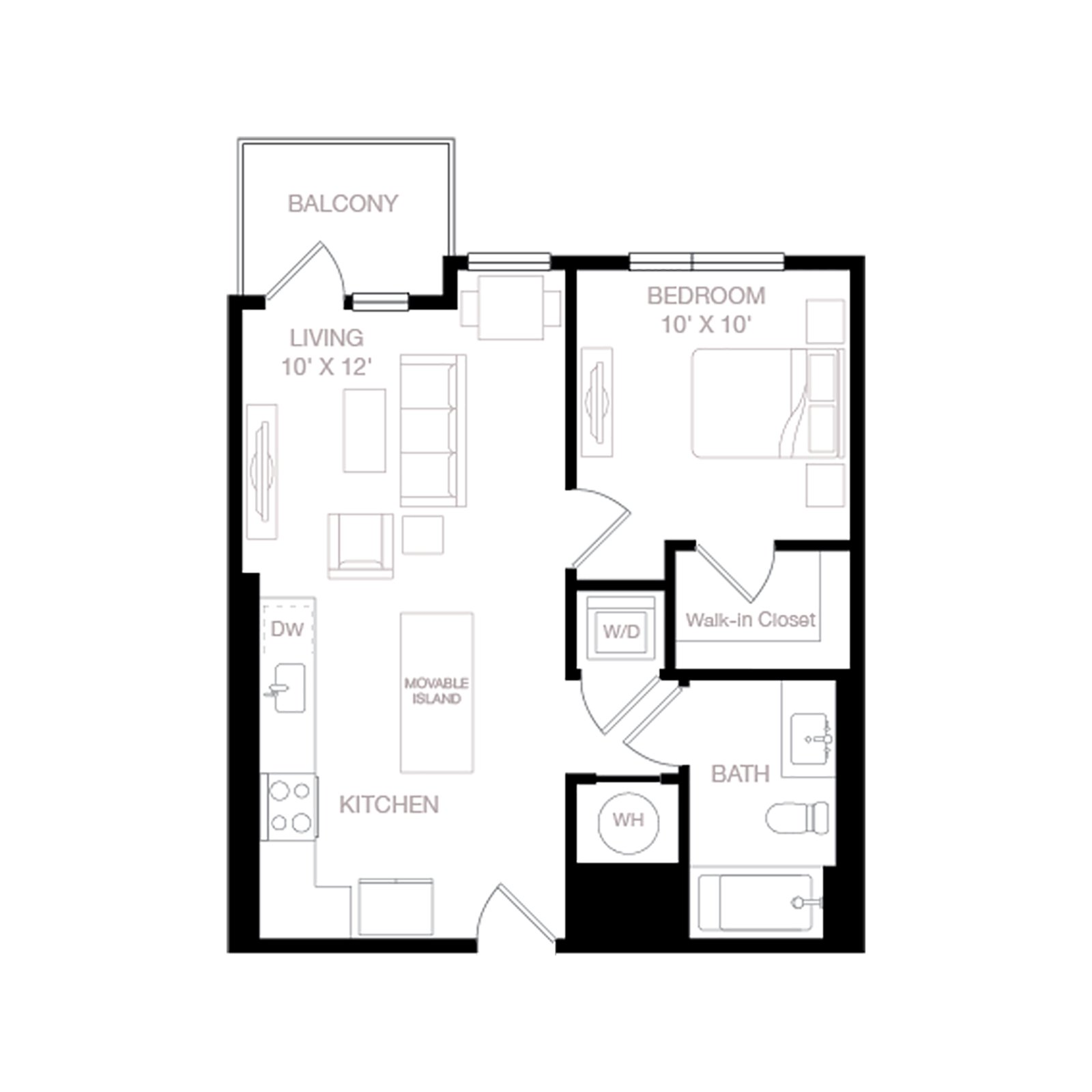 A3 | 1 Bed | 1 Bath diagram