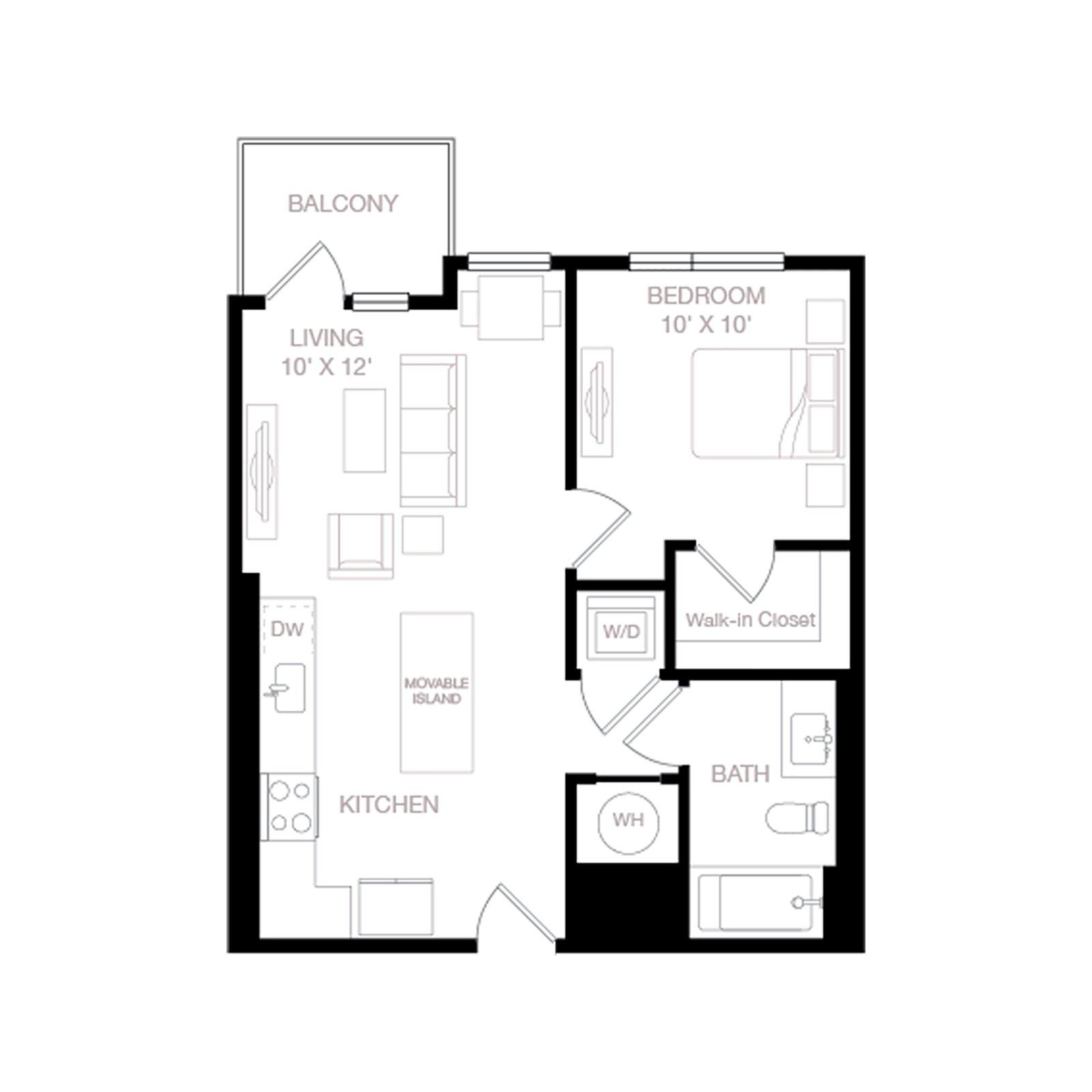 A3 | 1 Bed | 1 Bath diagram