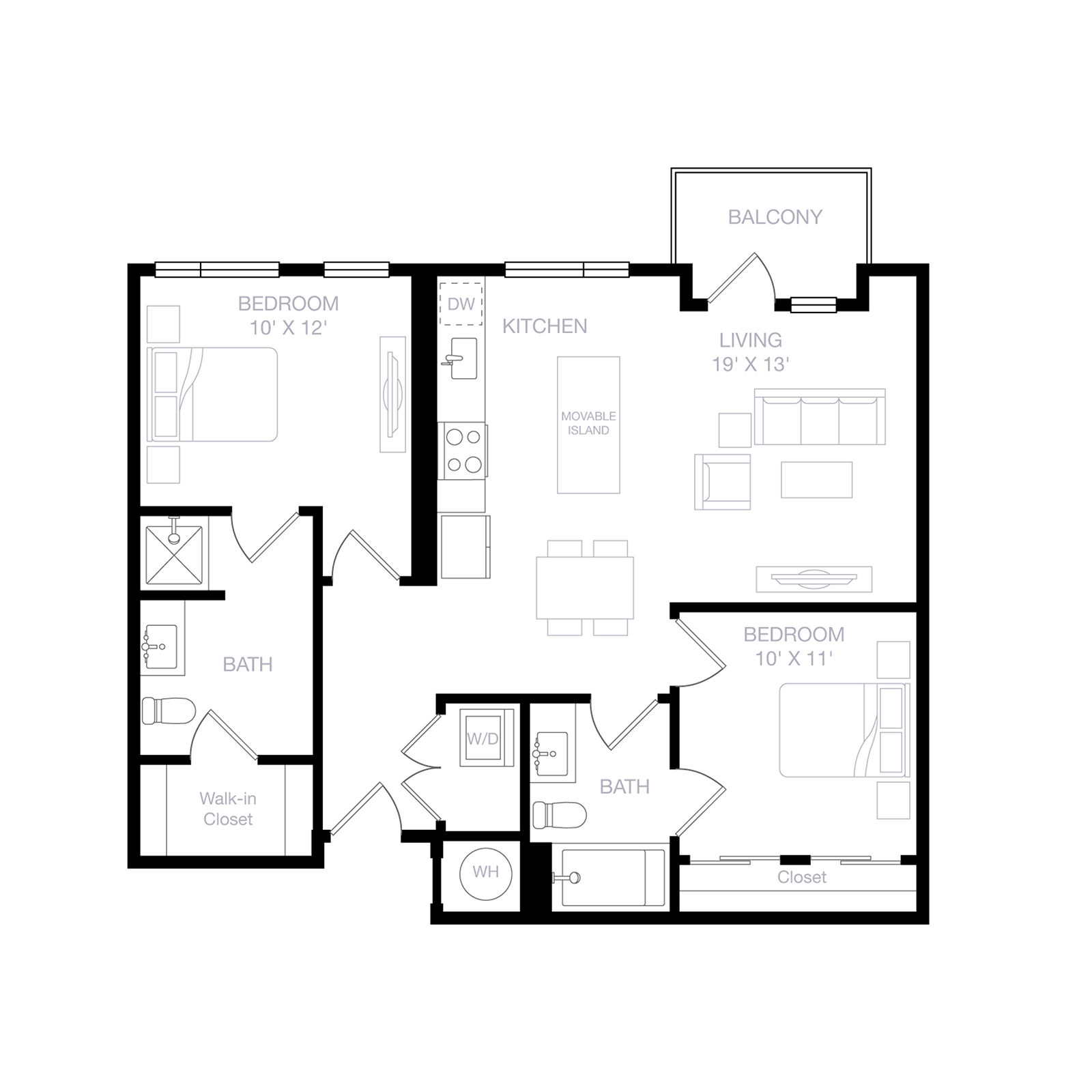 B4 | 2 Bed | 2 Bath diagram