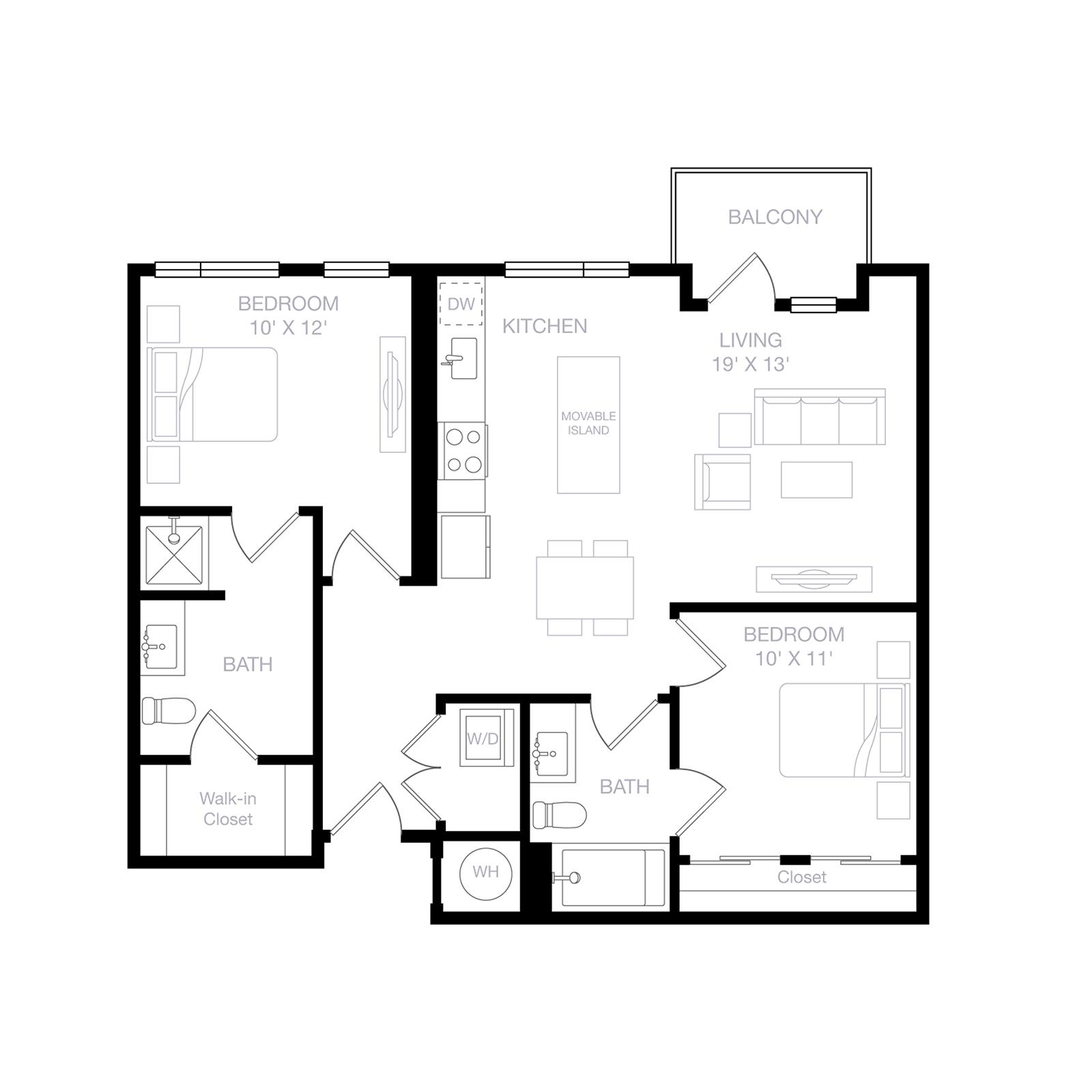 B4 | 2 Bed | 2 Bath diagram