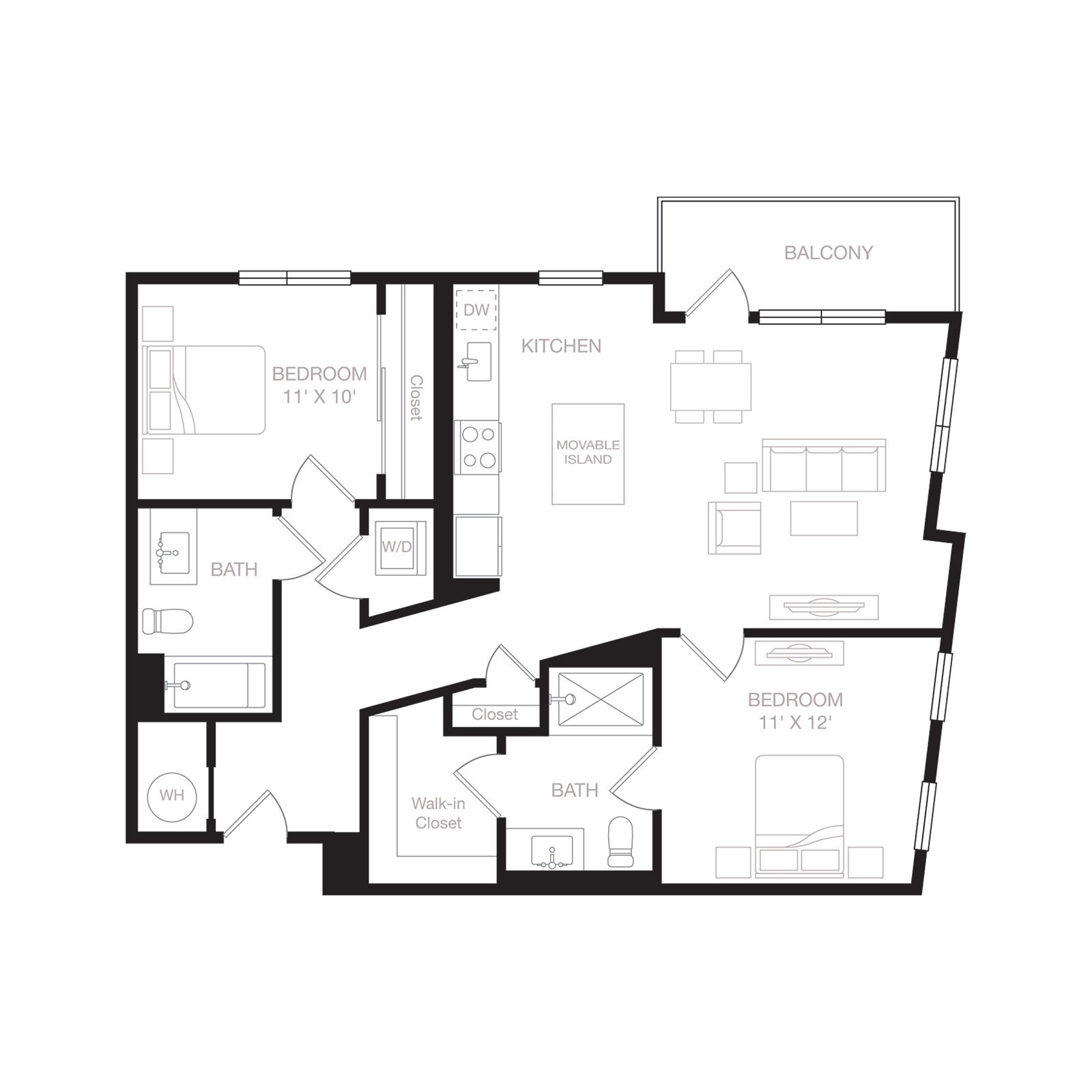 B3 | 2 Bed | 2 Bath diagram