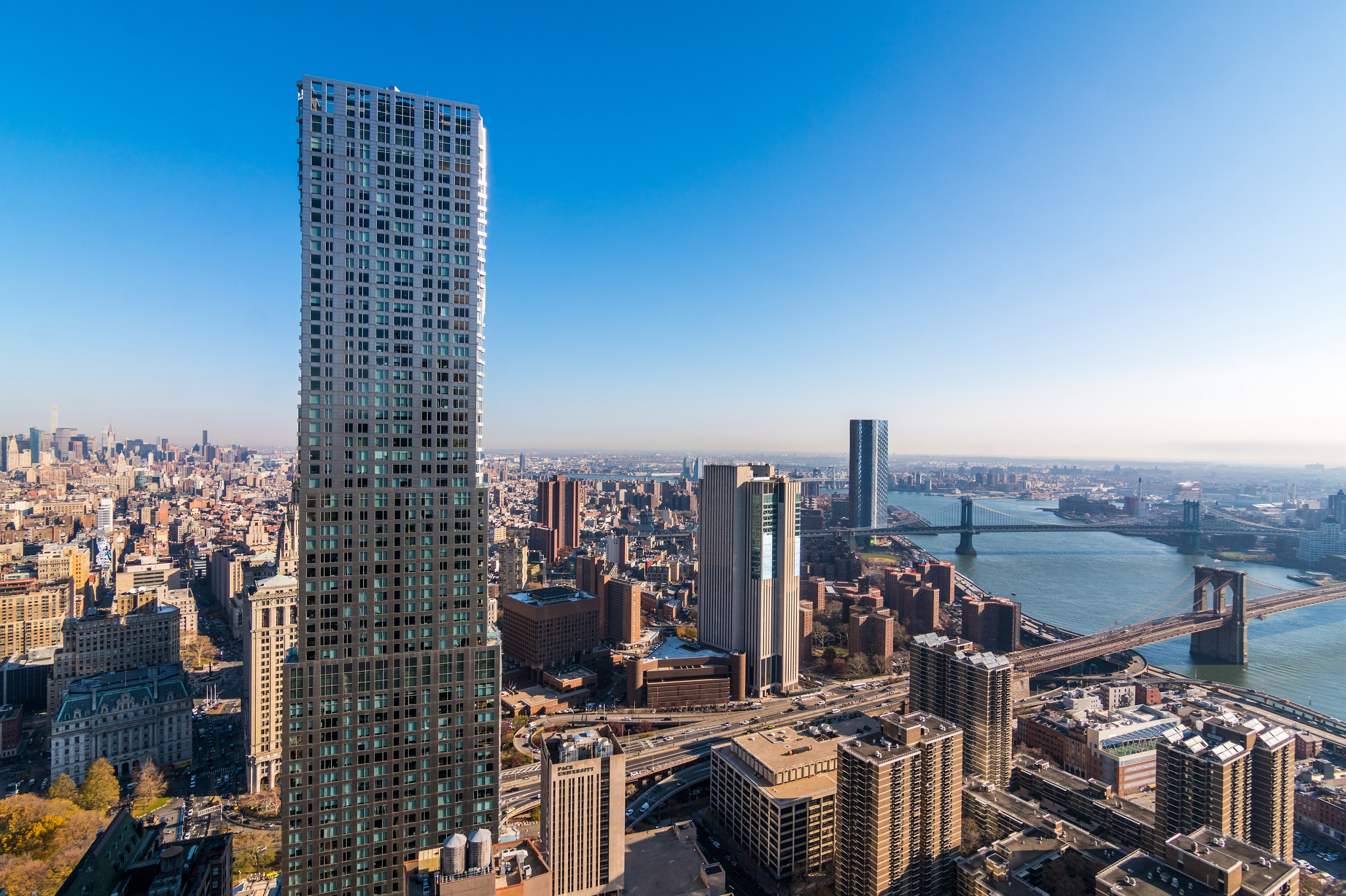 aerial view of NYC and 19 Dutch luxury high rise apartments in the financial district