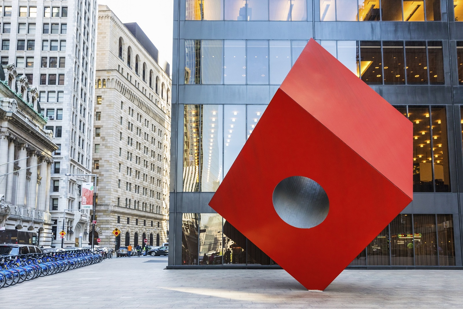 large red cube sculpture -19 Dutch Apts lower Manhattan neighborhood