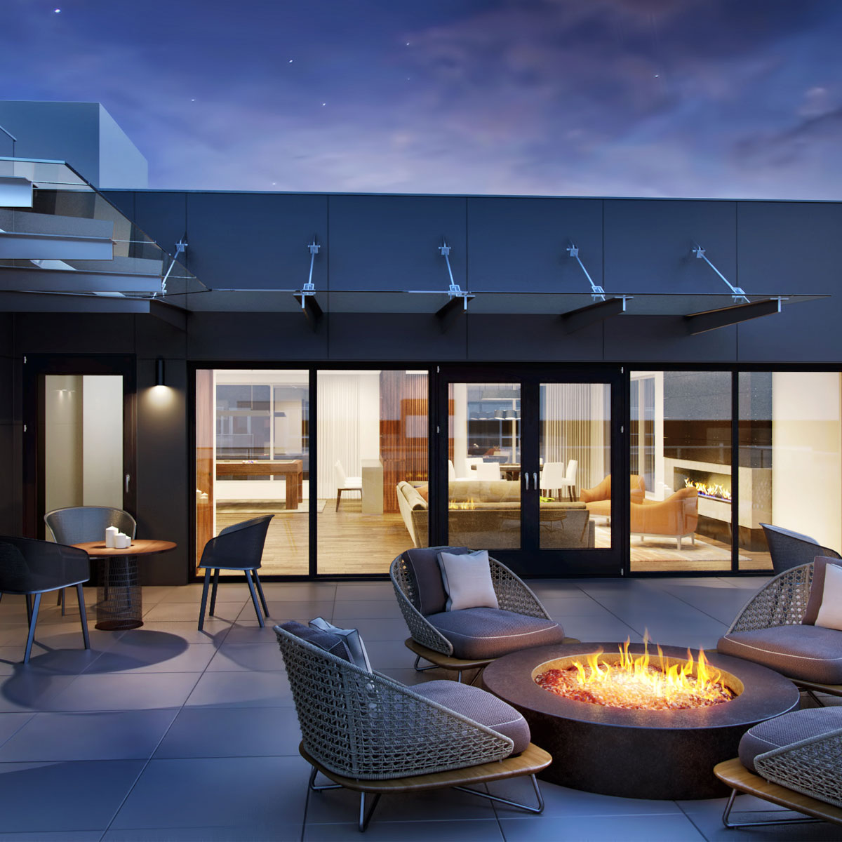 Outdoor Terrace With  Fire Pit - Hyde Square