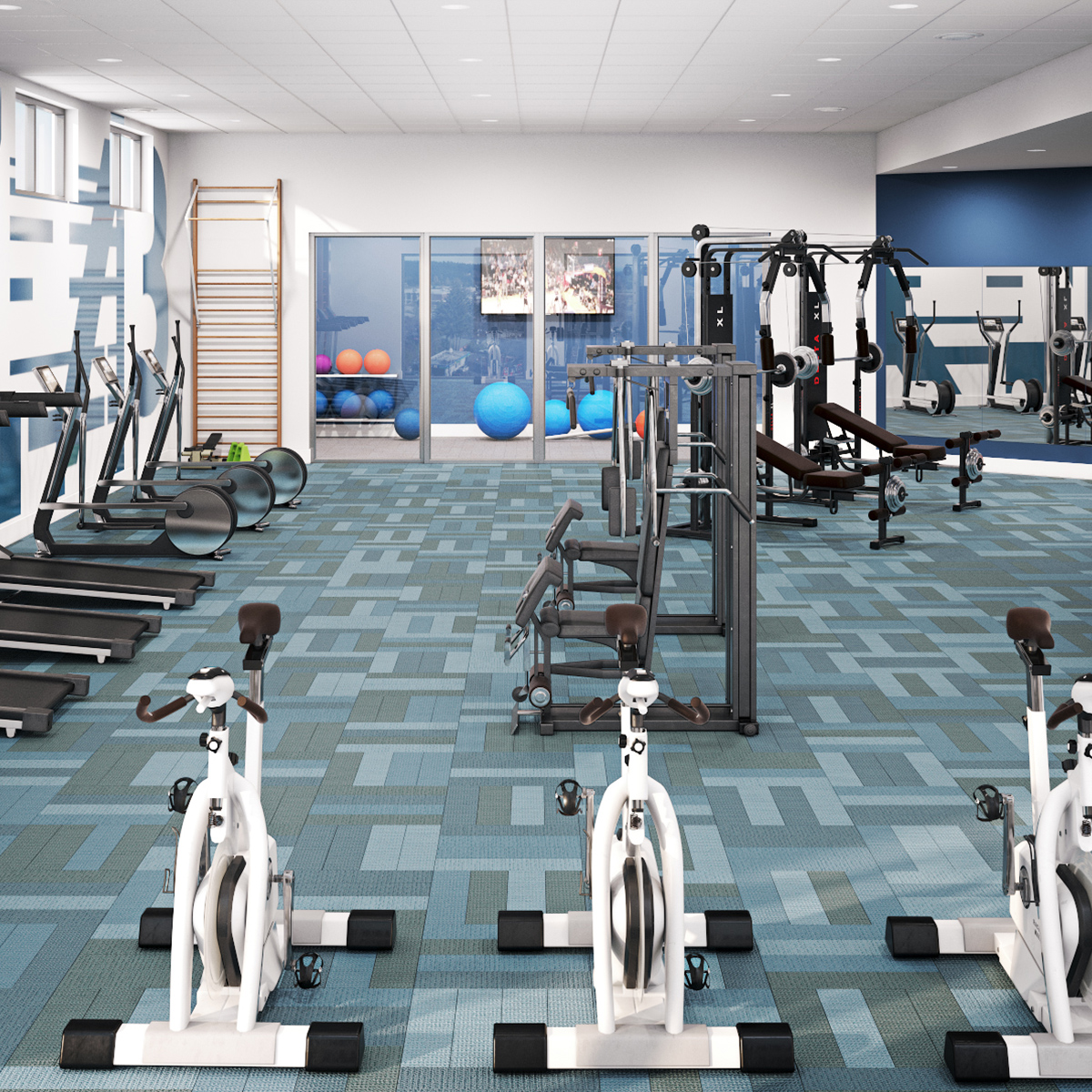 The Palmer Amenities - Fitness Center and Yoga Room