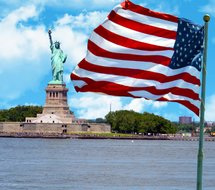 american flag with statue of liberty on background