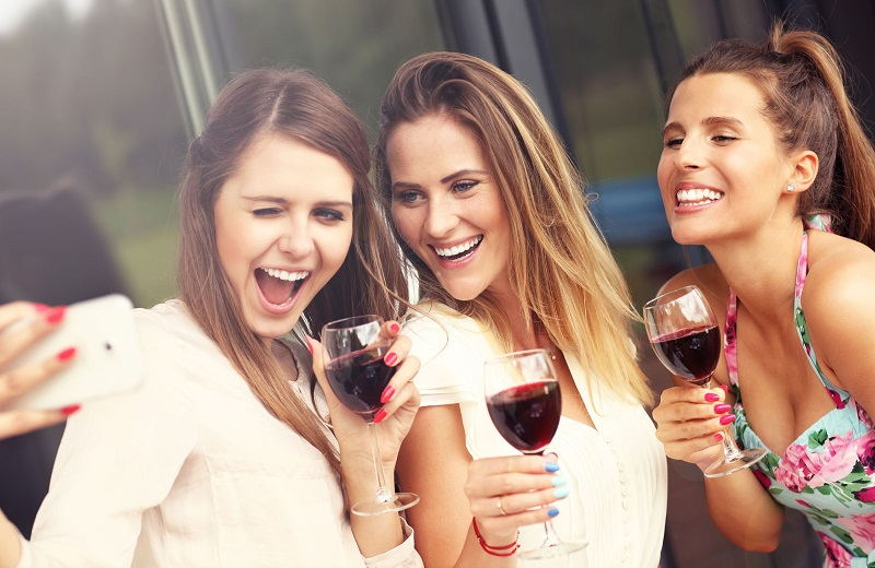 group of ladies enjoying wine in LA