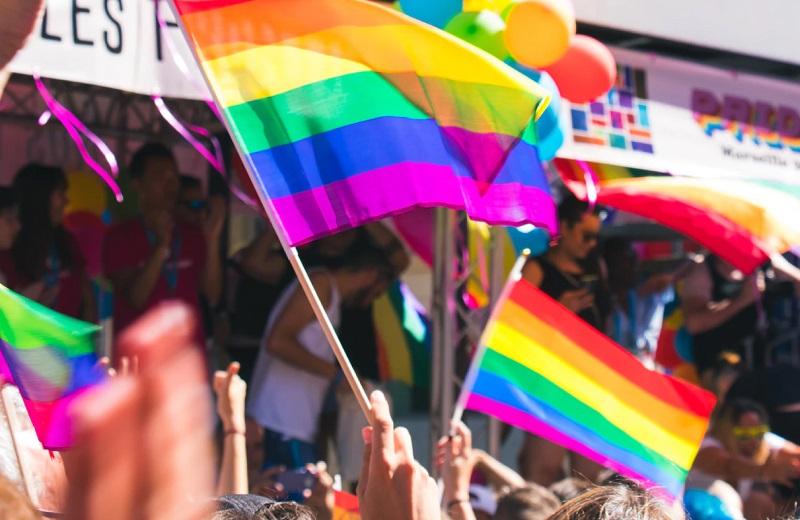 pride flags at a pride parade