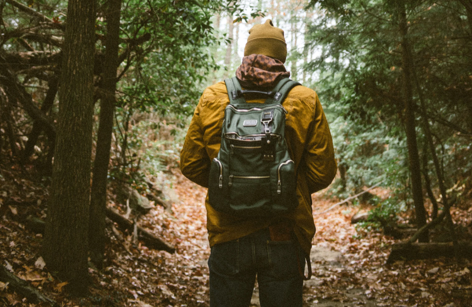 man with a backpack hiking in the forest the vintage pleasanton