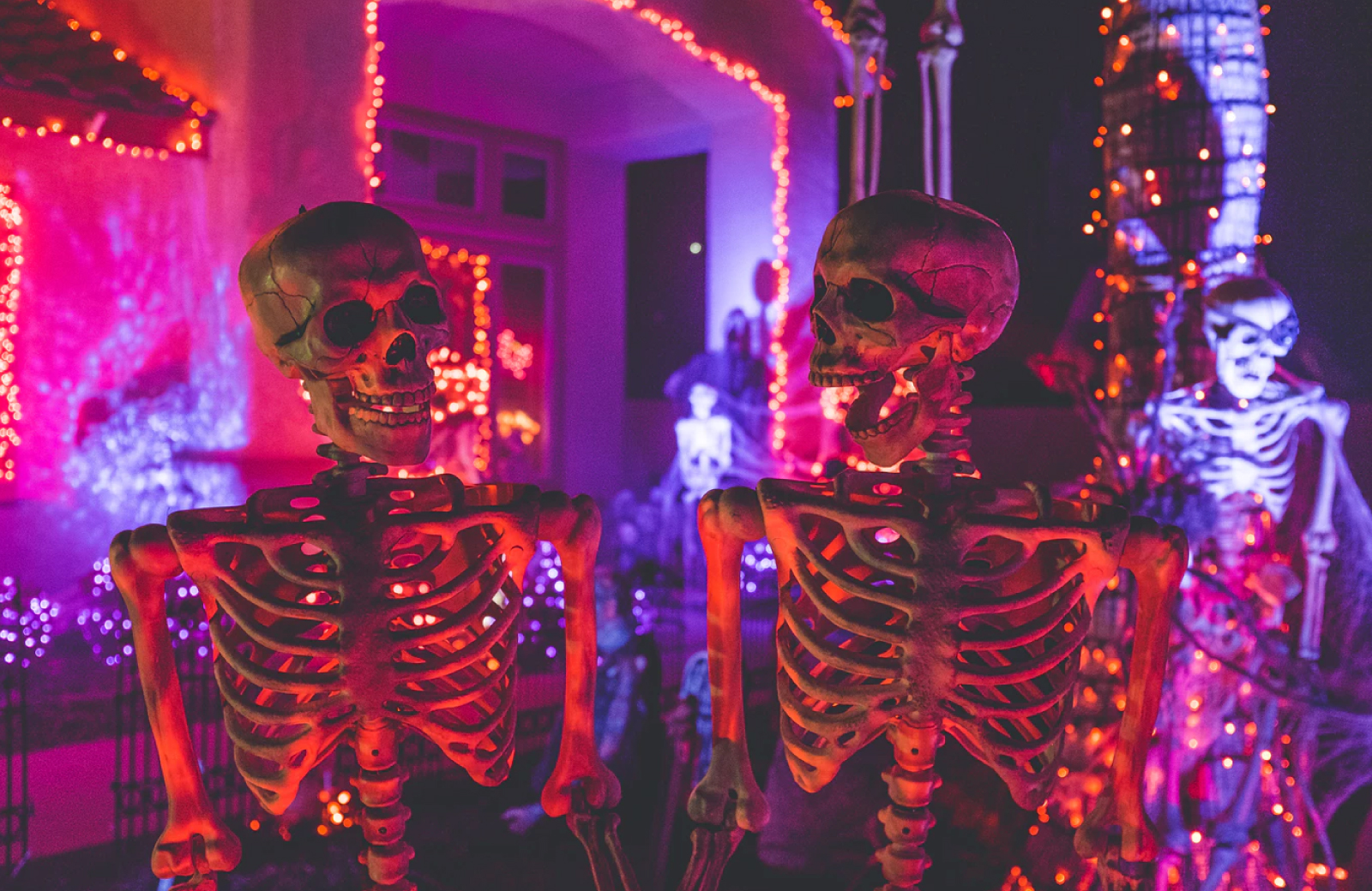 skeleton displays on the yard for halloween eighth & grand LA