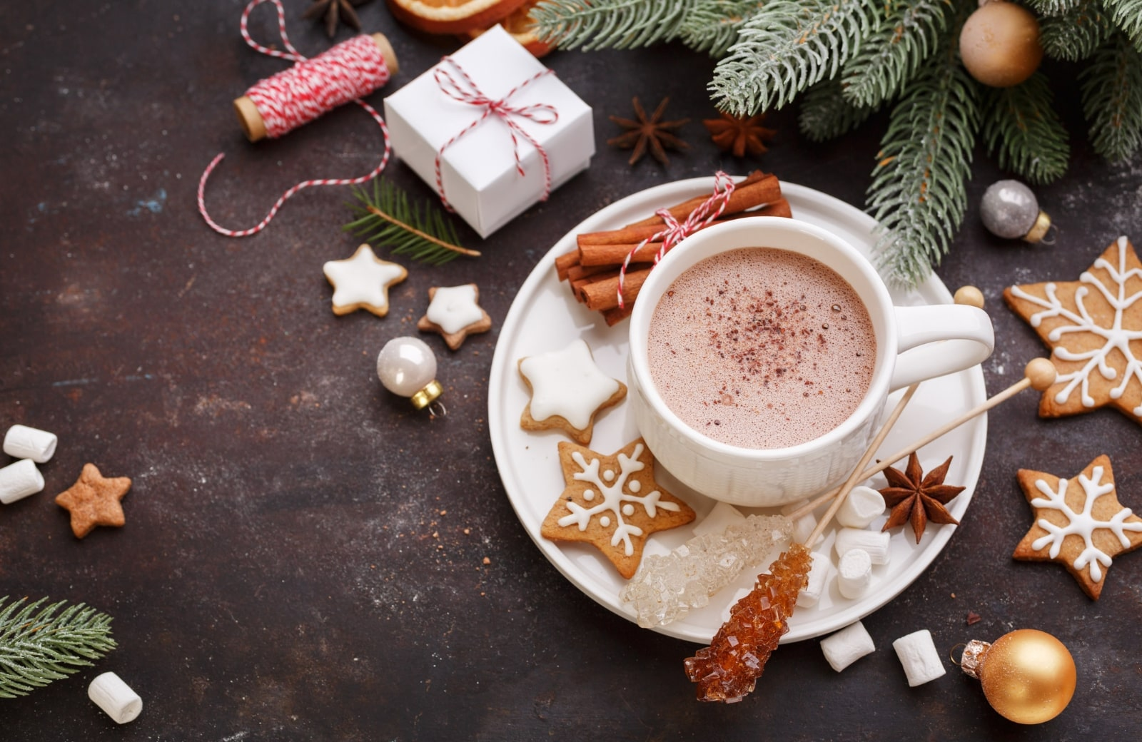 cup of hot choco with christmas decor