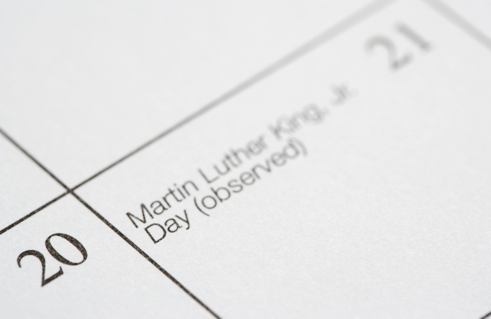 mlk jr holiday marked in the calendar