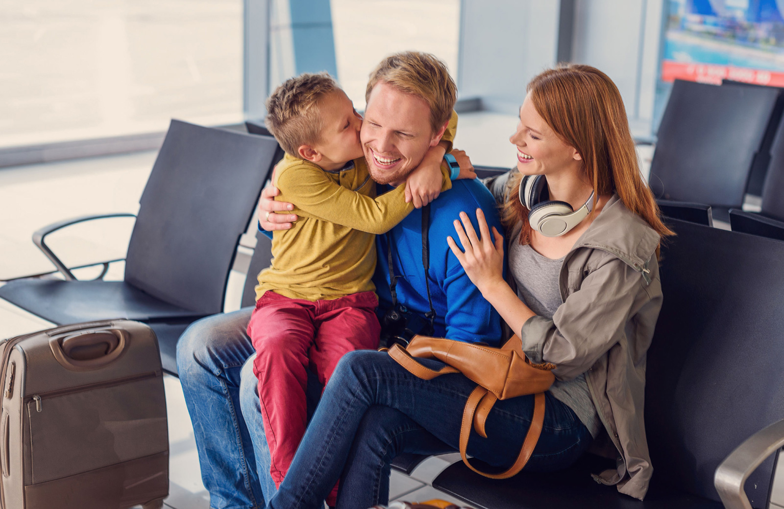 family in an airport