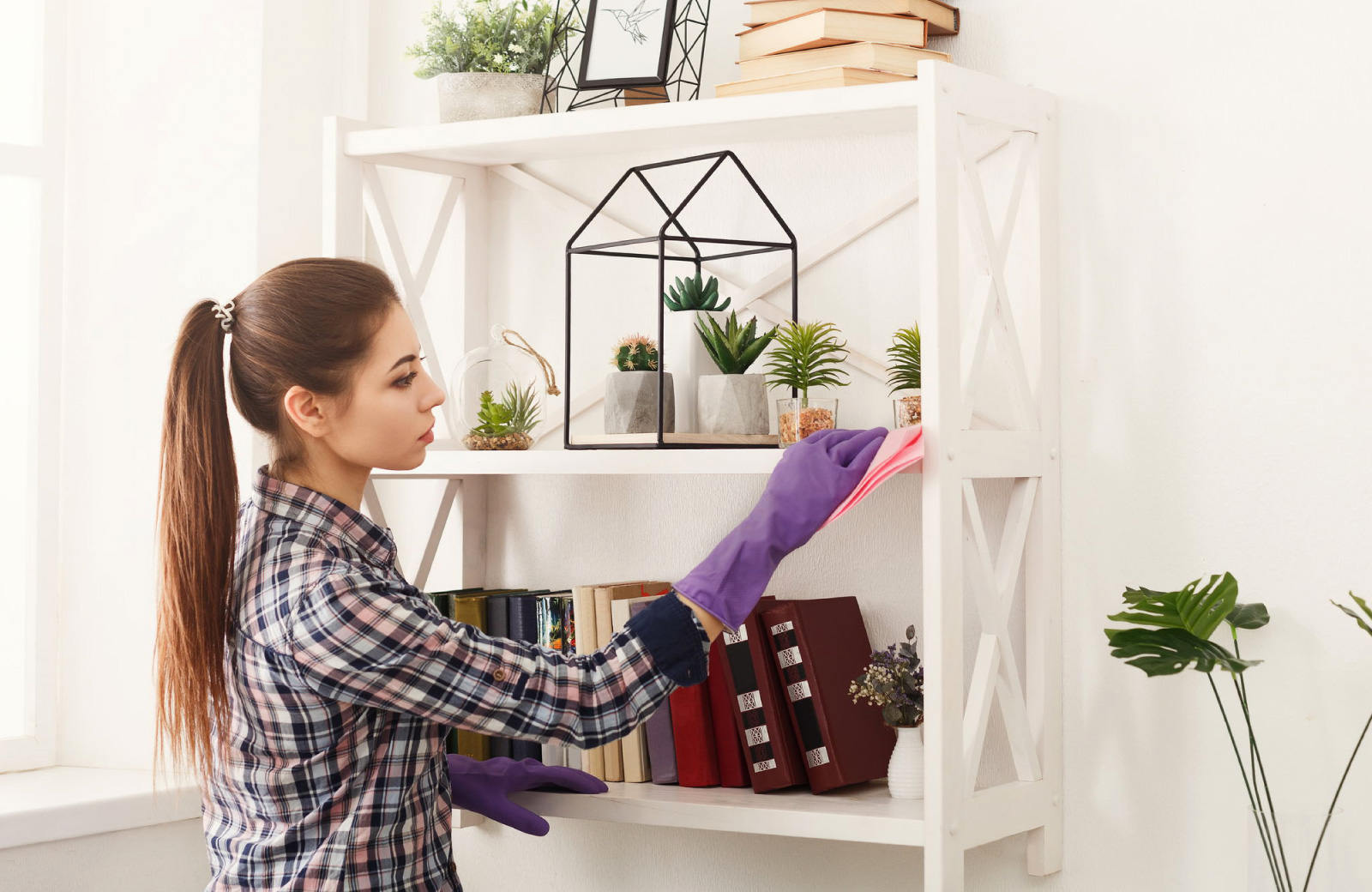 woman doing some spring cleaning