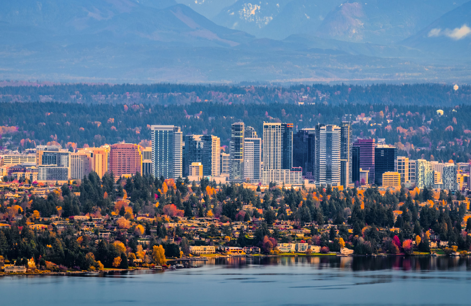 waterfront view of Bellevue WA skyline in the fall - Hyde Square Apts