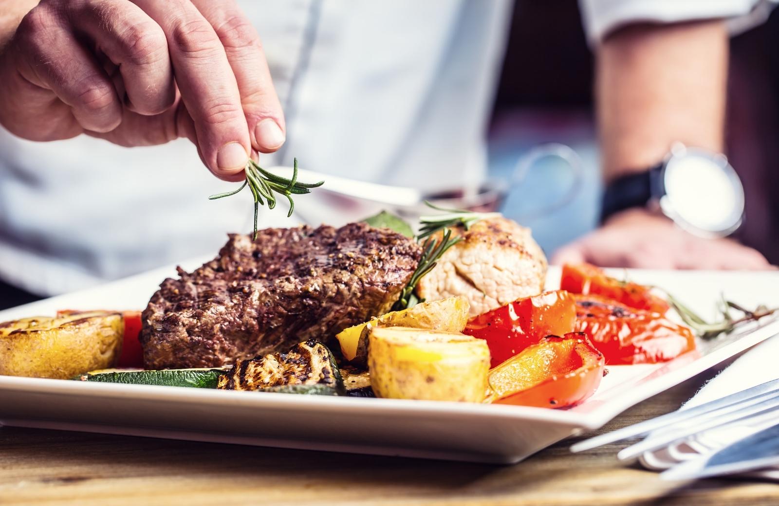 chef preparing steak