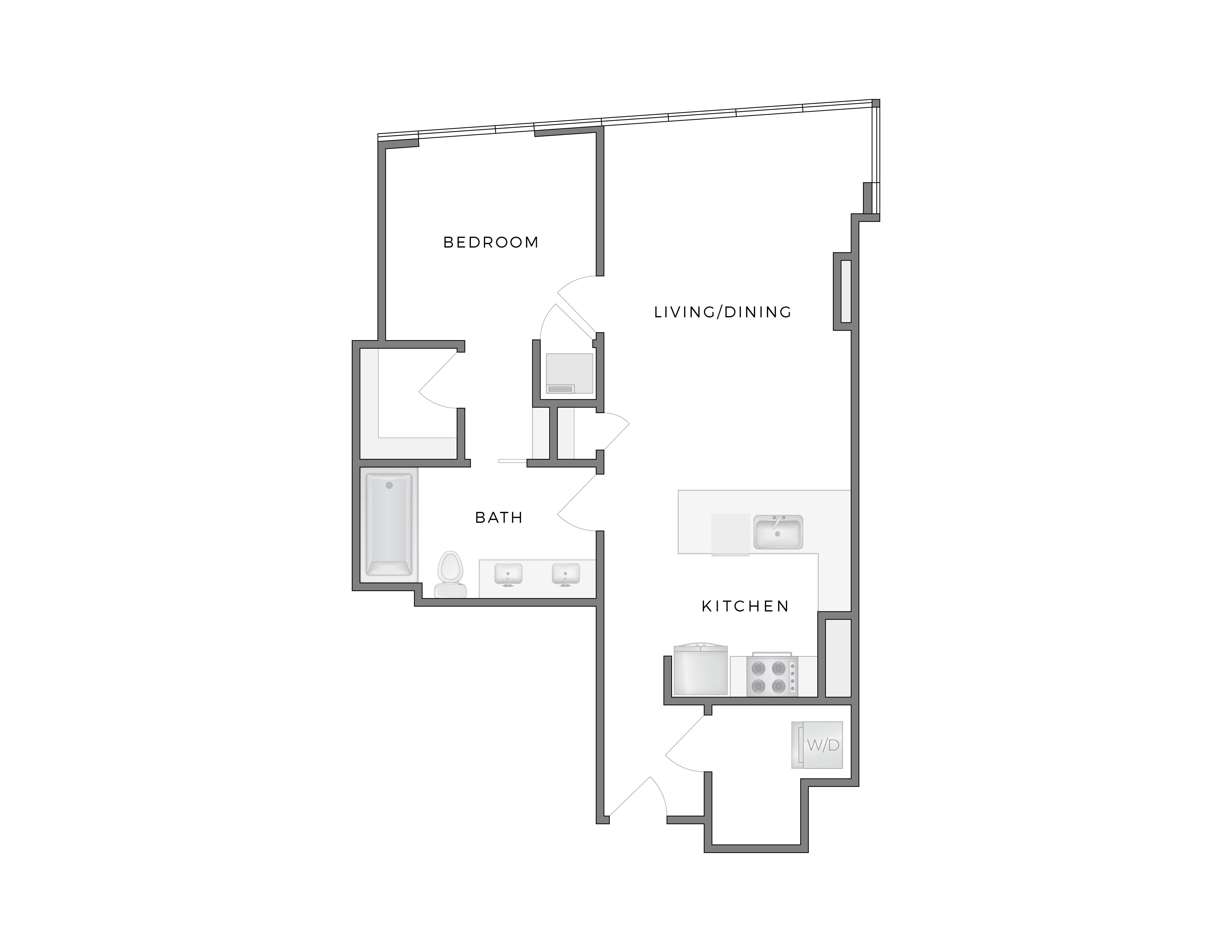 Atelier Rothko 3 apartment floorplan diagram with one bedroom, one bathroom, kitchen, and living dining area