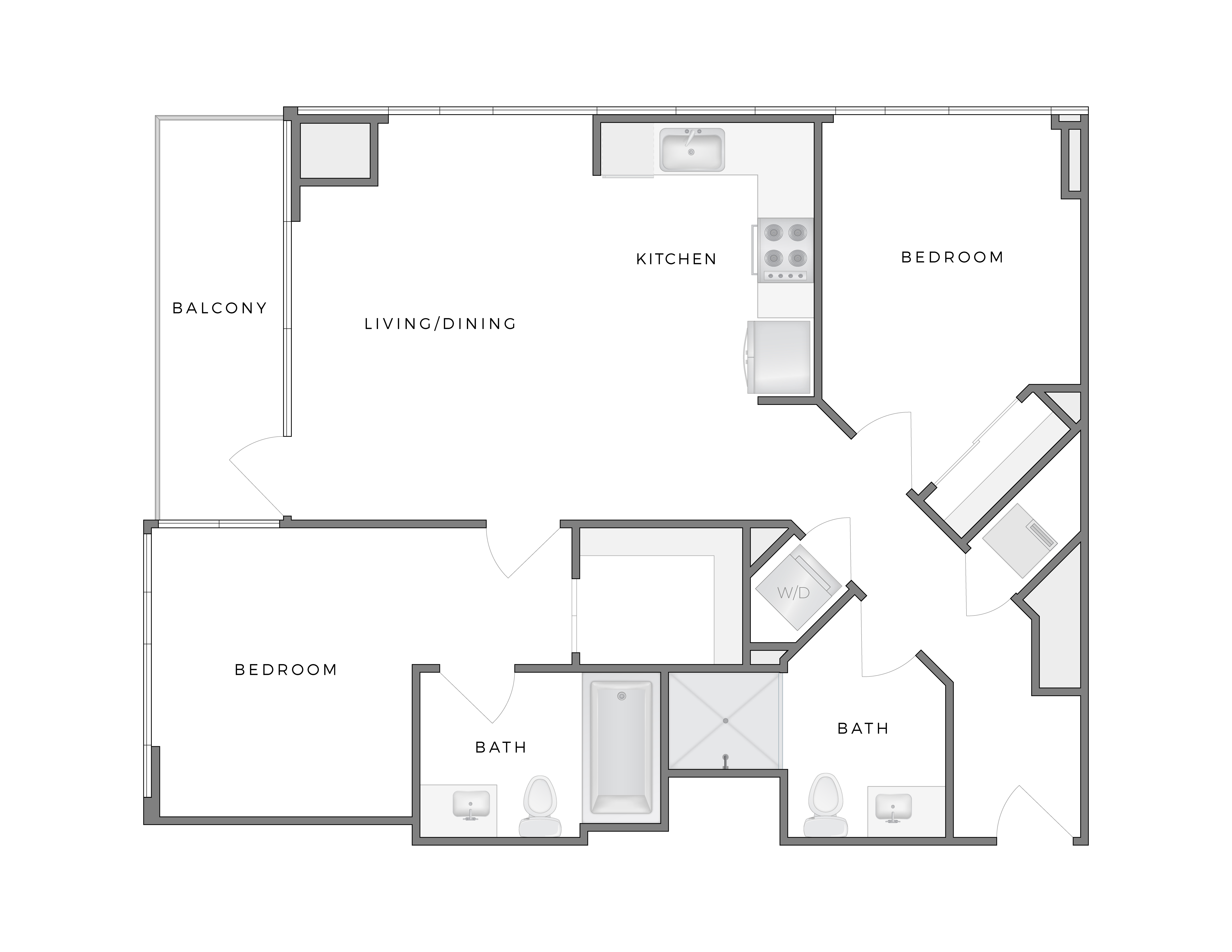 Atelier Hopper 1 apartment floorplan diagram with two bedrooms, two bathrooms, kitchen, living dining area, and patio