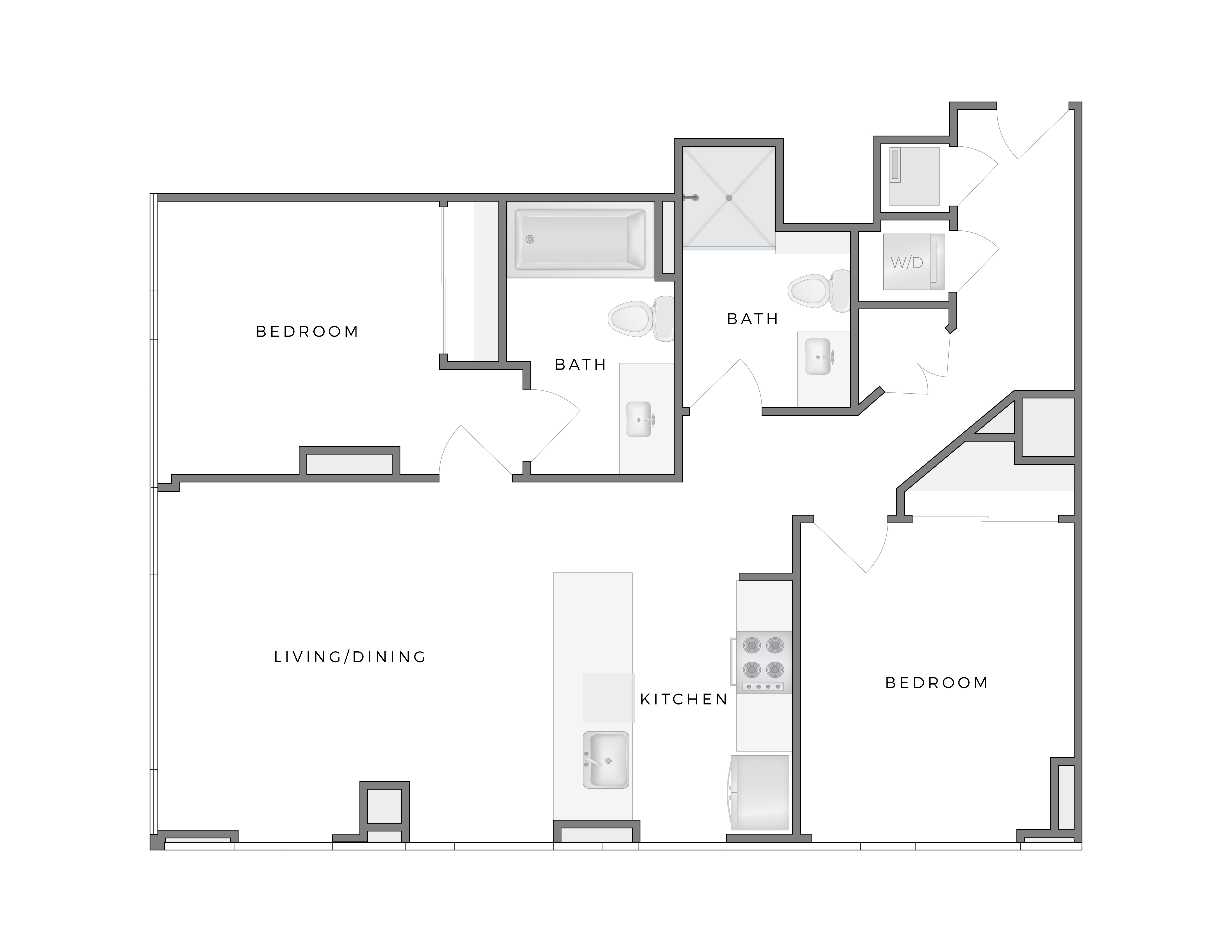 Atelier Hopper 2 apartment floorplan diagram with two bedrooms, two bathrooms, kitchen, and living dining area