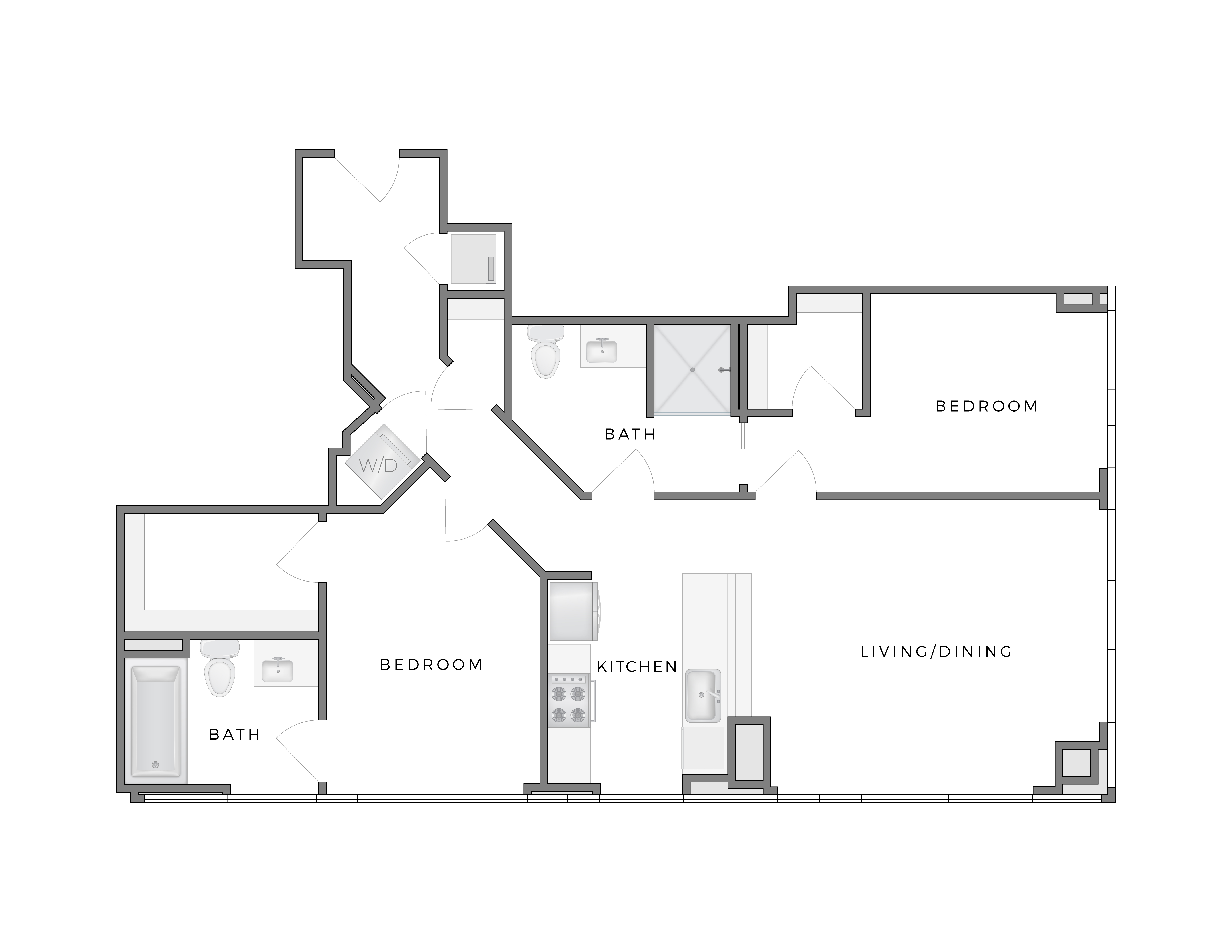 Atelier Hopper 3 apartment floorplan diagram with two bedrooms, two bathrooms, kitchen, and living dining area