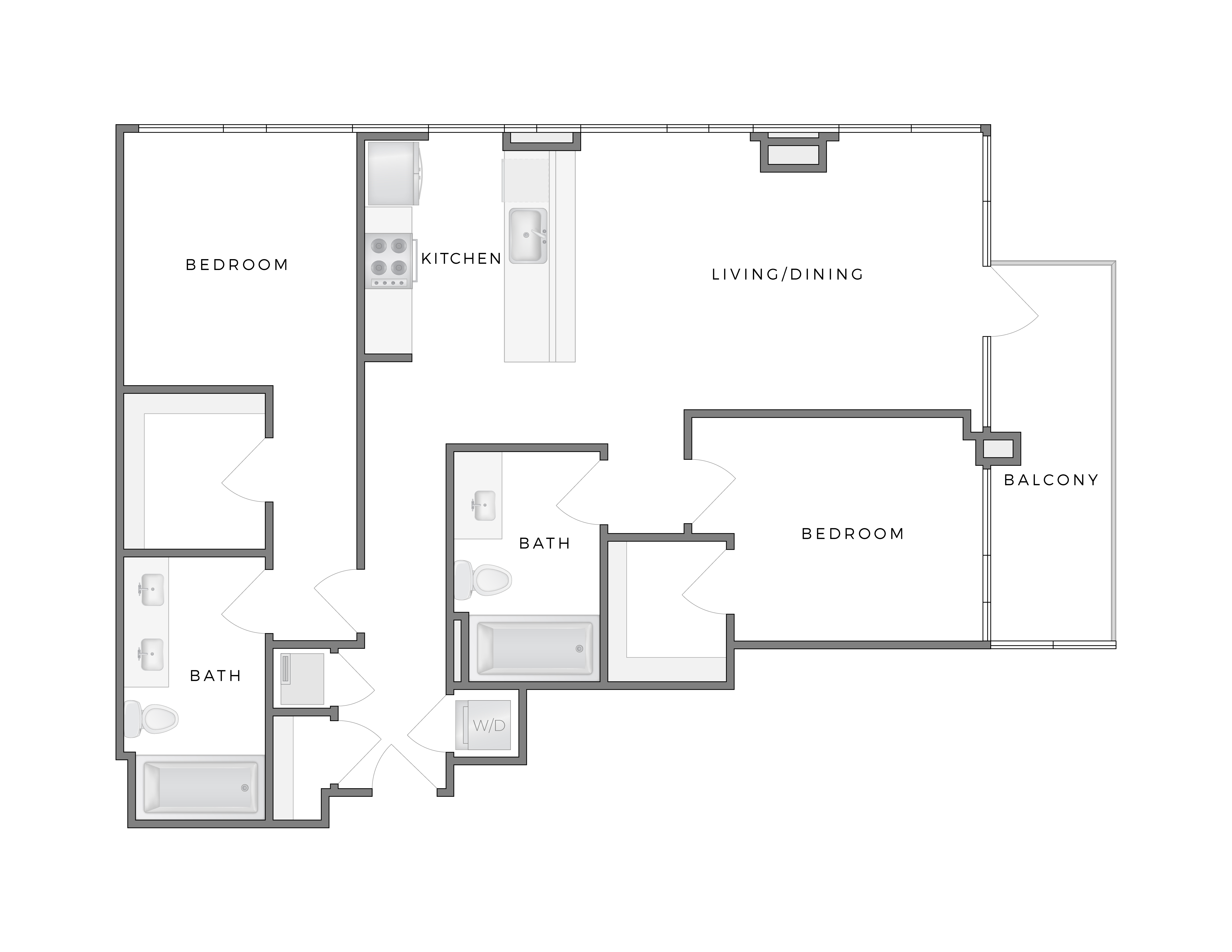 Atelier Hopper 4 apartment floorplan diagram with two bedrooms, two bathrooms, kitchen, living dining area and balcony