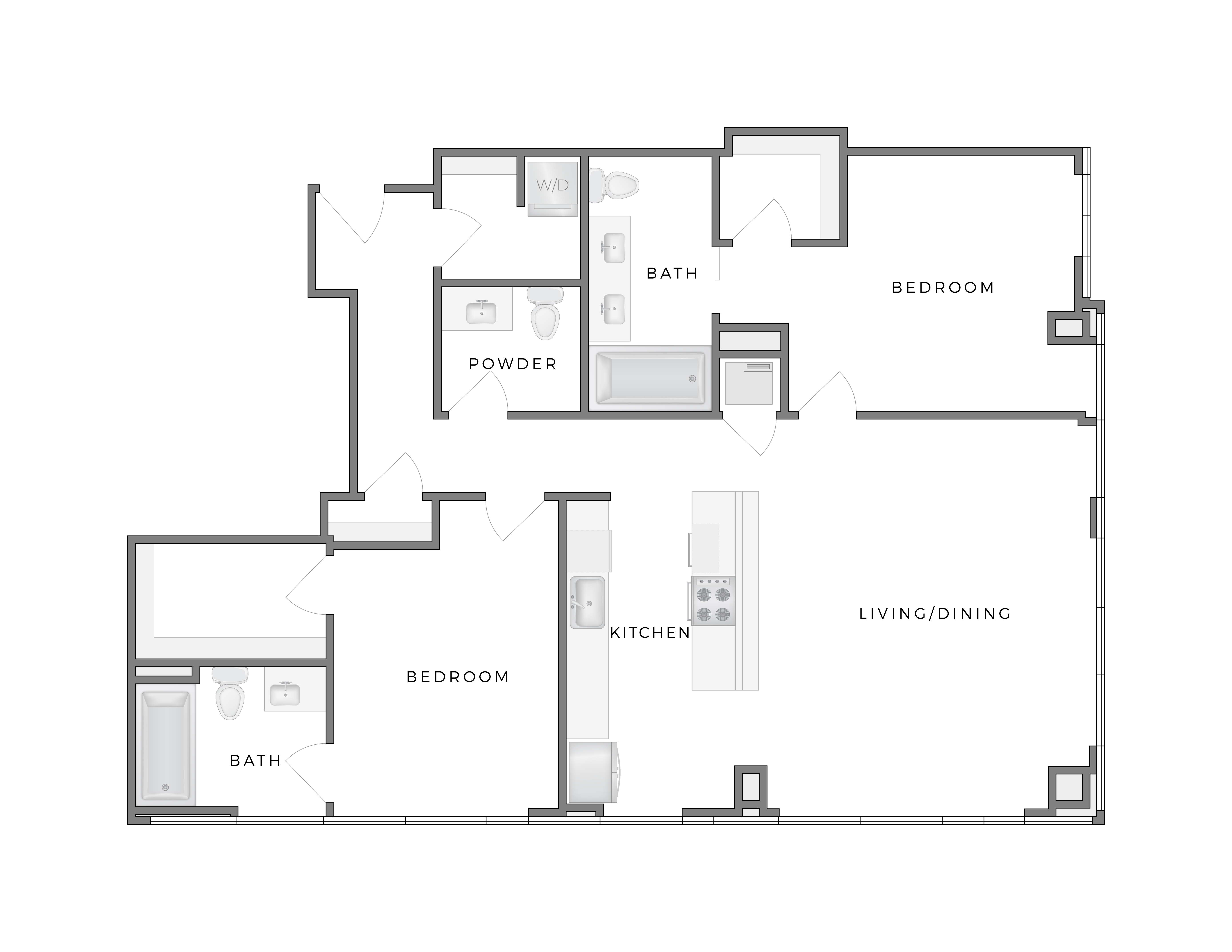 Atelier Calder 1 apartment floorplan diagram with two bedrooms, two and half bathrooms, kitchen, and living dining area