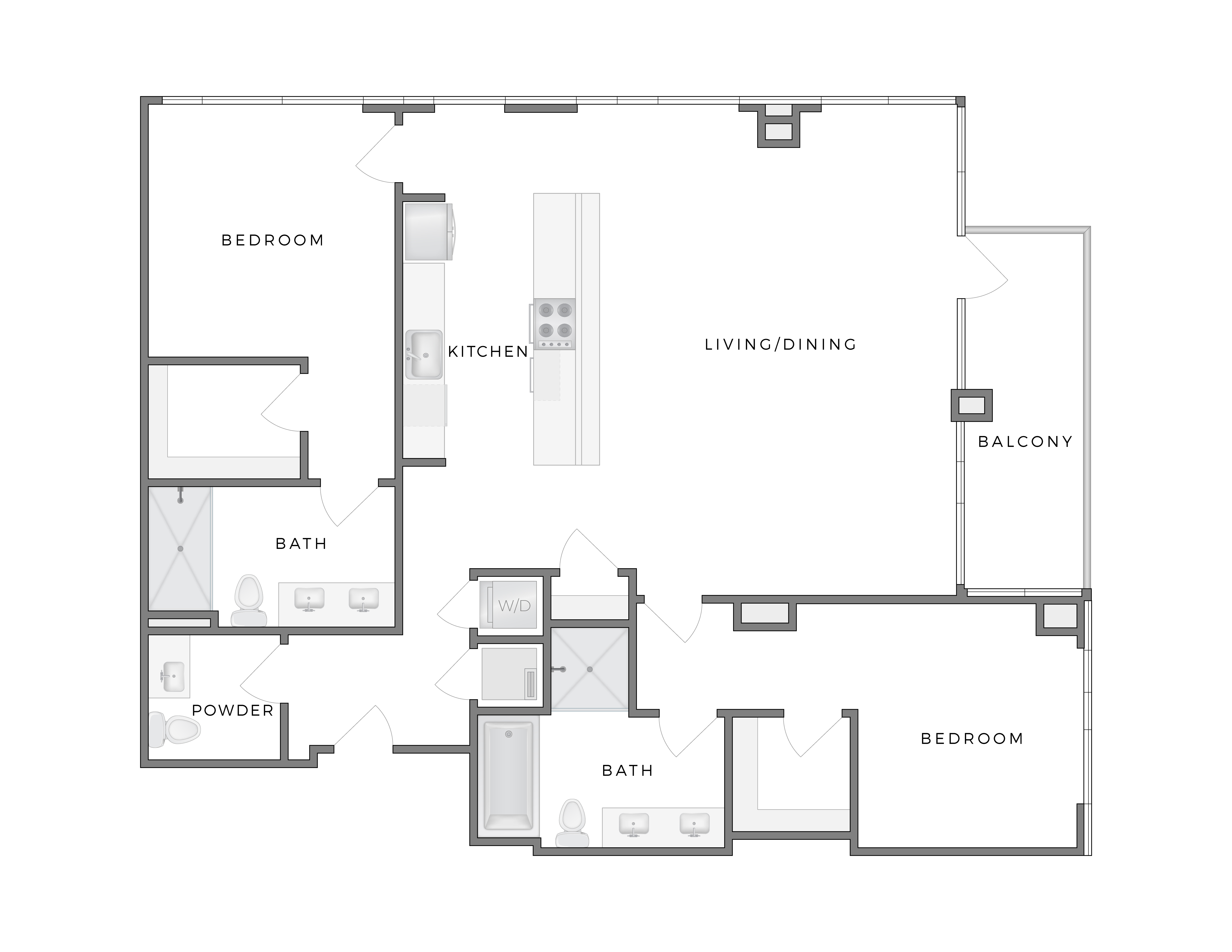 Atelier apartment Calder 2 floorplan diagram with two bedrooms, two and half bathrooms, kitchen, living dining area and patio