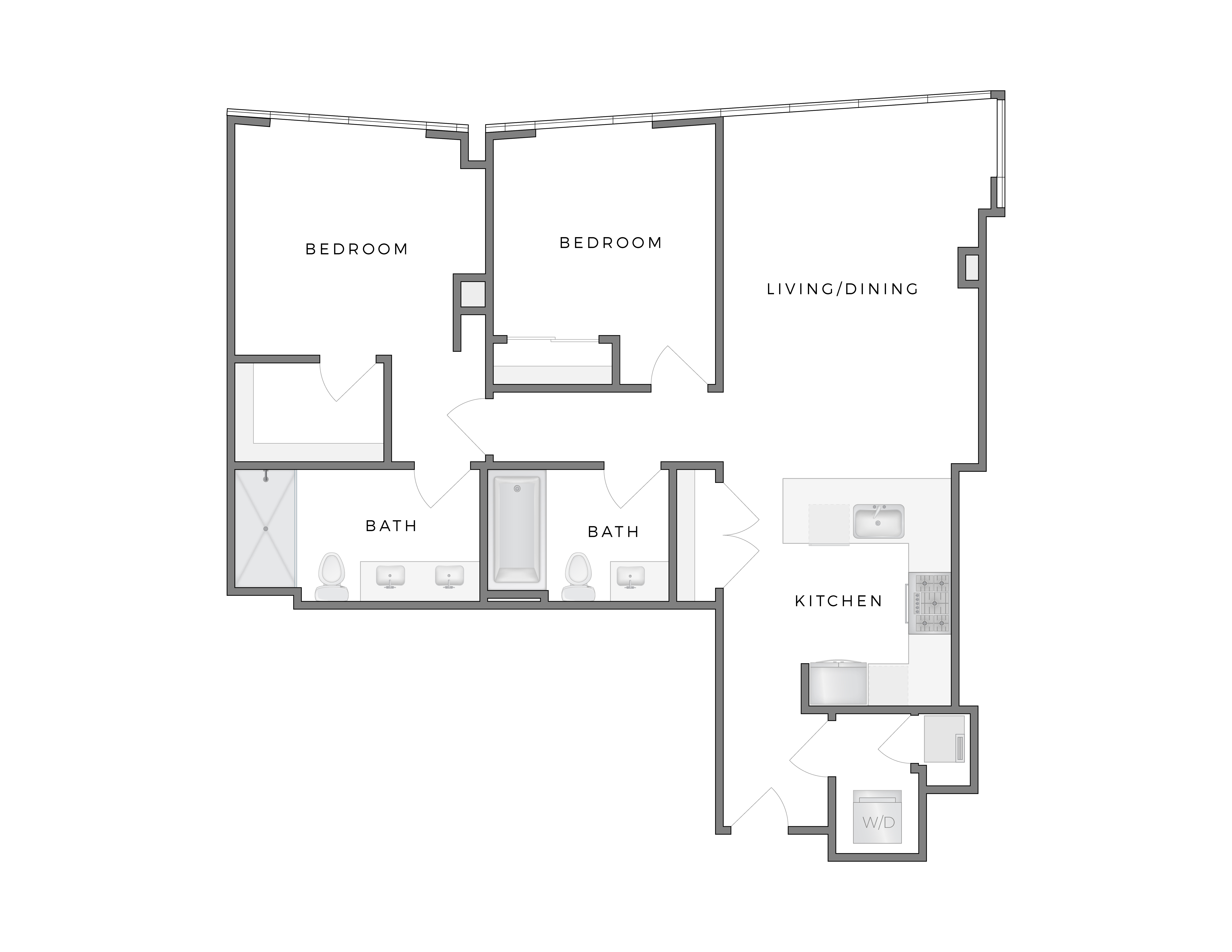 Atelier Penthouse apartment Warhol 1 floorplan diagram with two bedrooms, two bathrooms, kitchen, and living dining area