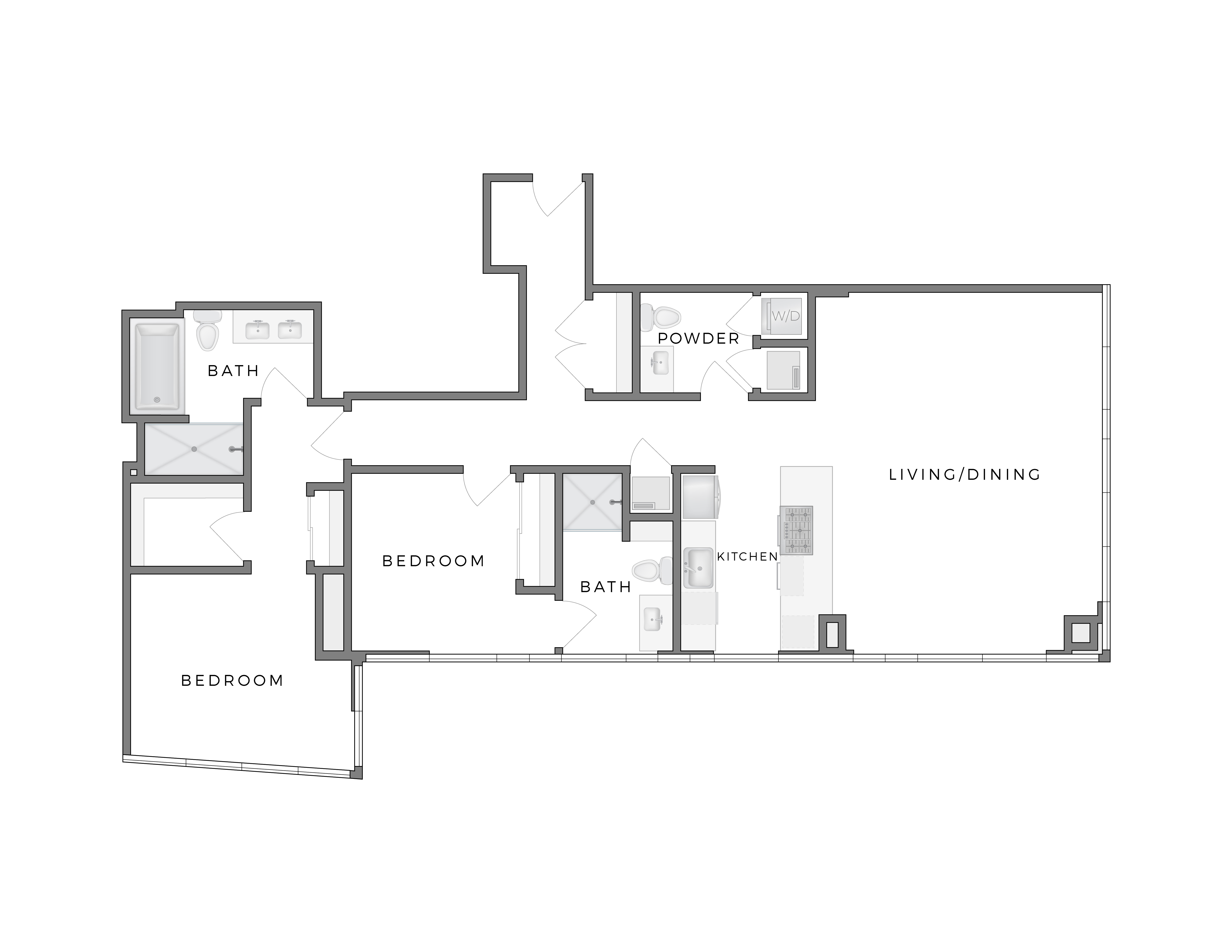 Atelier Warhol 3 apartment floorplan diagram with two bedrooms, two and a half bathrooms, kitchen, and living dining area