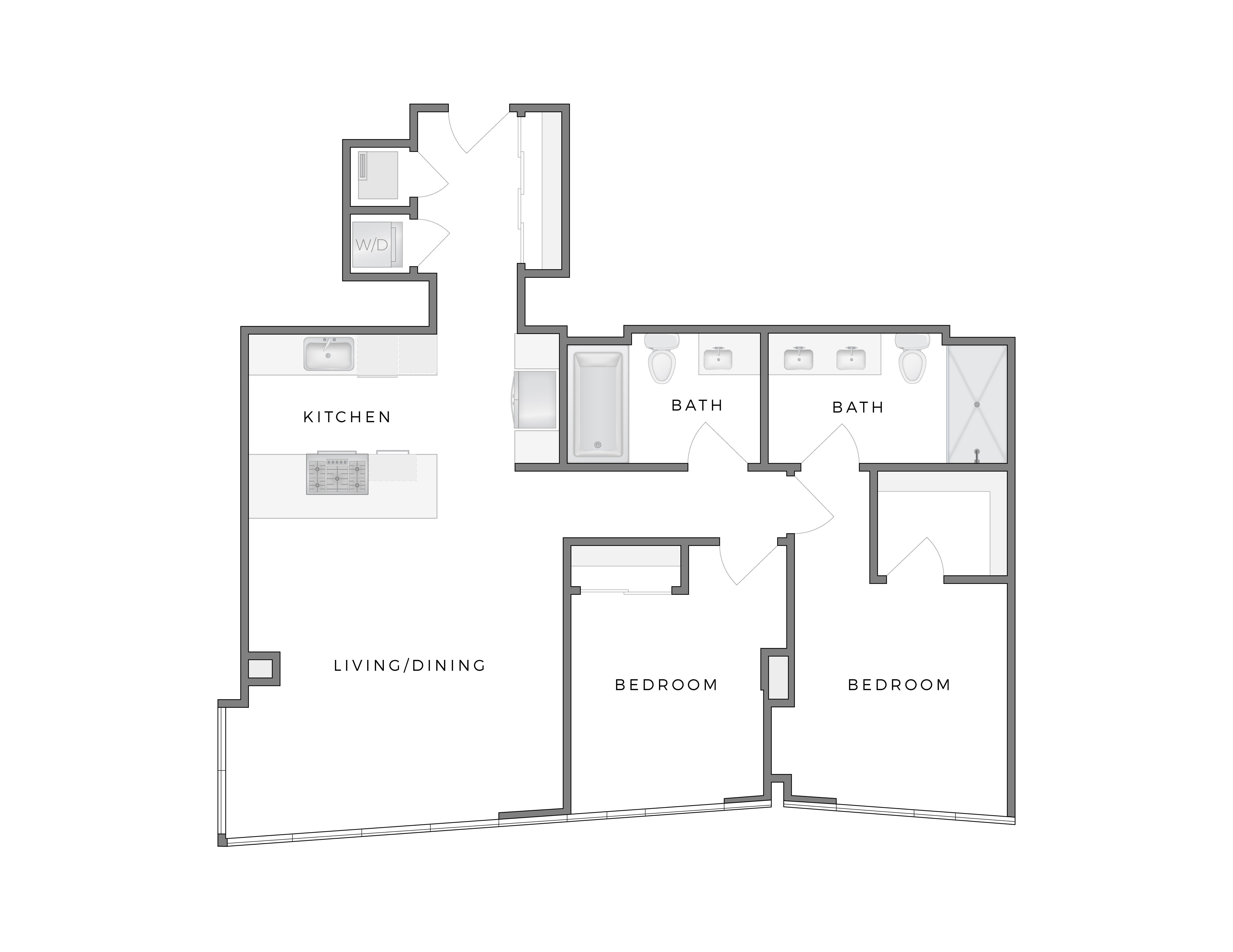 Atelier Warhol 4 apartment floorplan diagram with two bedrooms, two bathrooms, kitchen, and living dining area