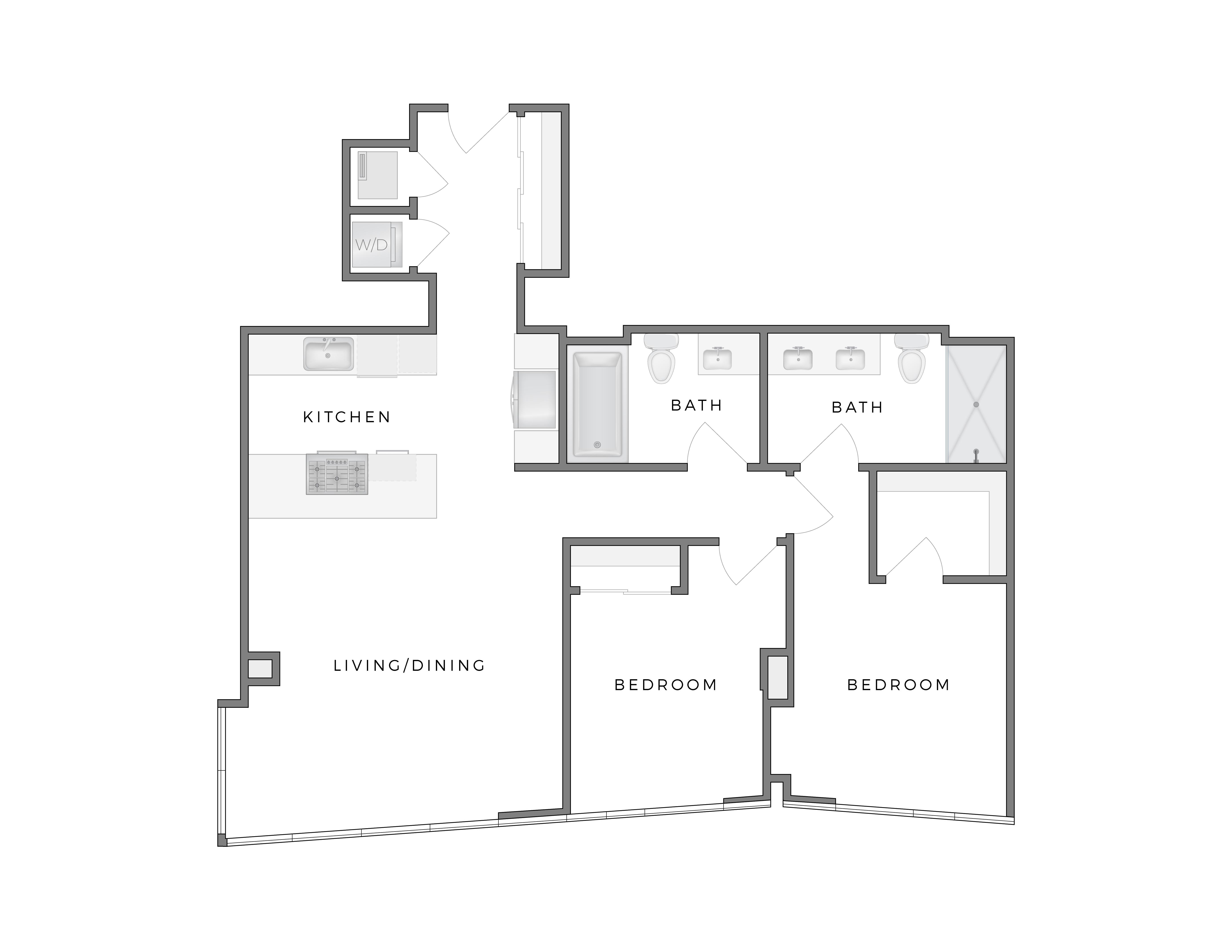 Atelier Highrise Apt Floorplans Warhol 4 2 Bedroom 2 Bath Dtla Apt