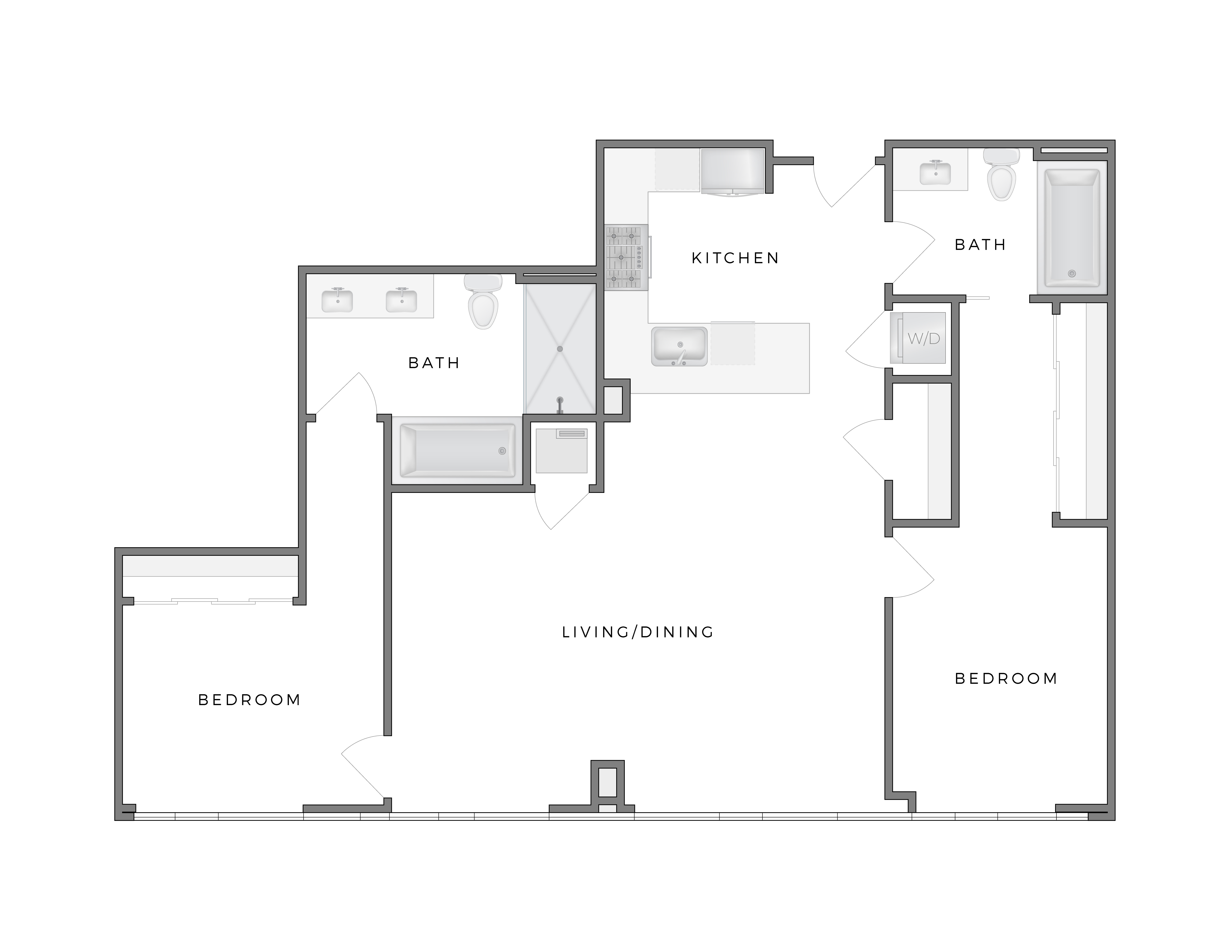 Atelier Warhol 5 apartment floorplan diagram with two bedrooms, two bathrooms, kitchen, and living dining area