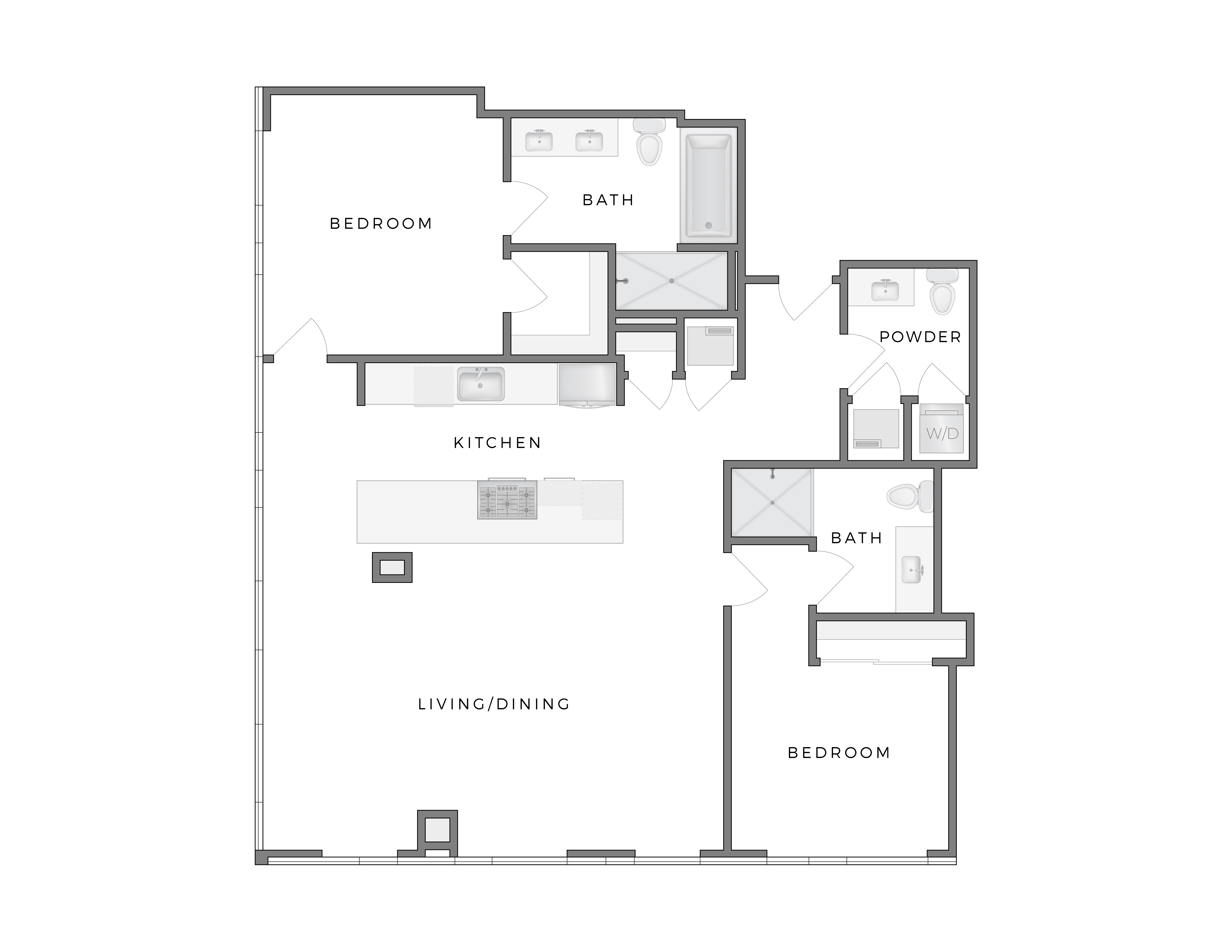 Atelier Warhol 6 apartment floorplan diagram with two bedrooms, two and a half bathrooms, kitchen, and living dining area