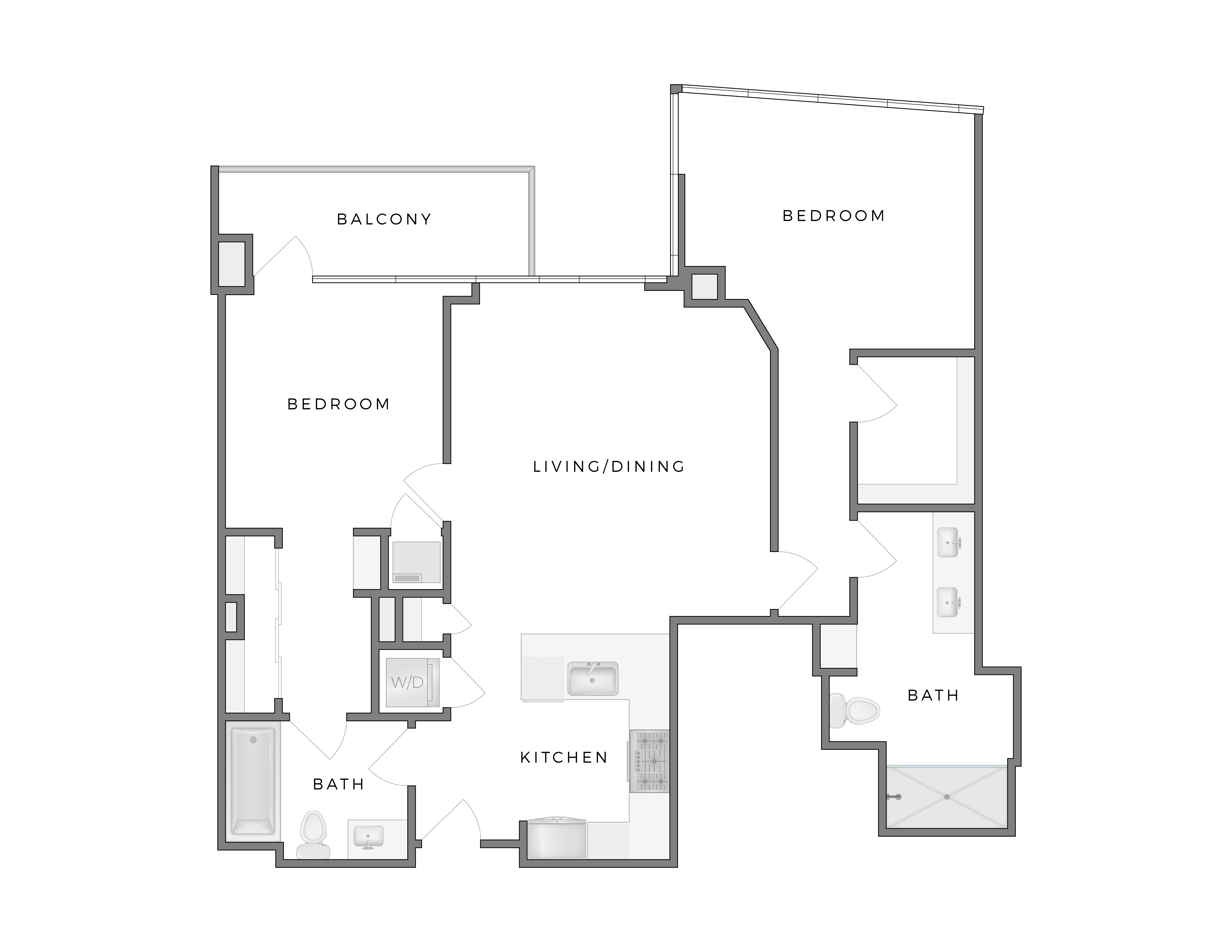 Atelier Warhol 8 apartment floorplan diagram with two bedrooms, two and a half baths, kitchen, living dining area, and patio