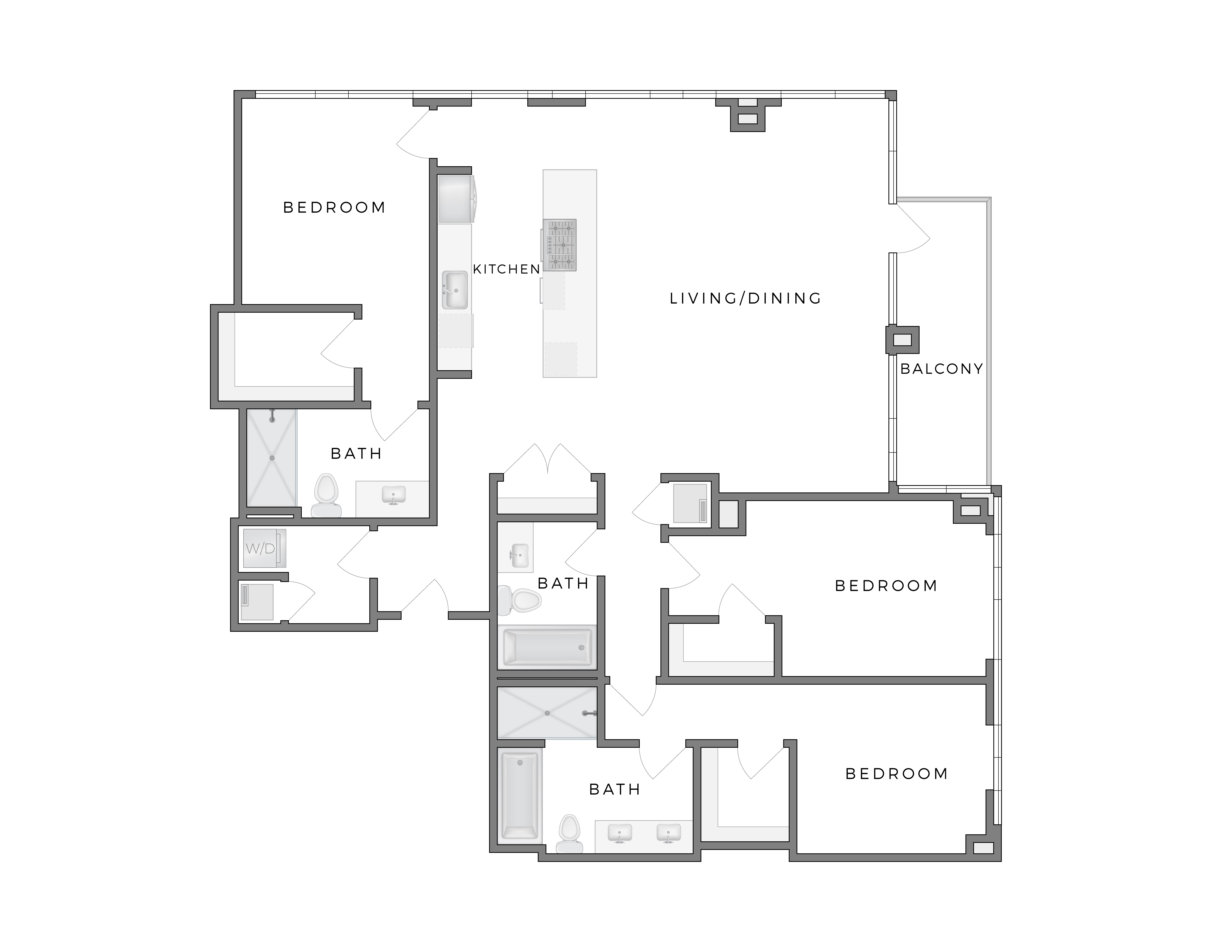 Atelier Warhol 2 apartment floorplan diagram with three bedrooms, three bathrooms, kitchen, living dining area and patio