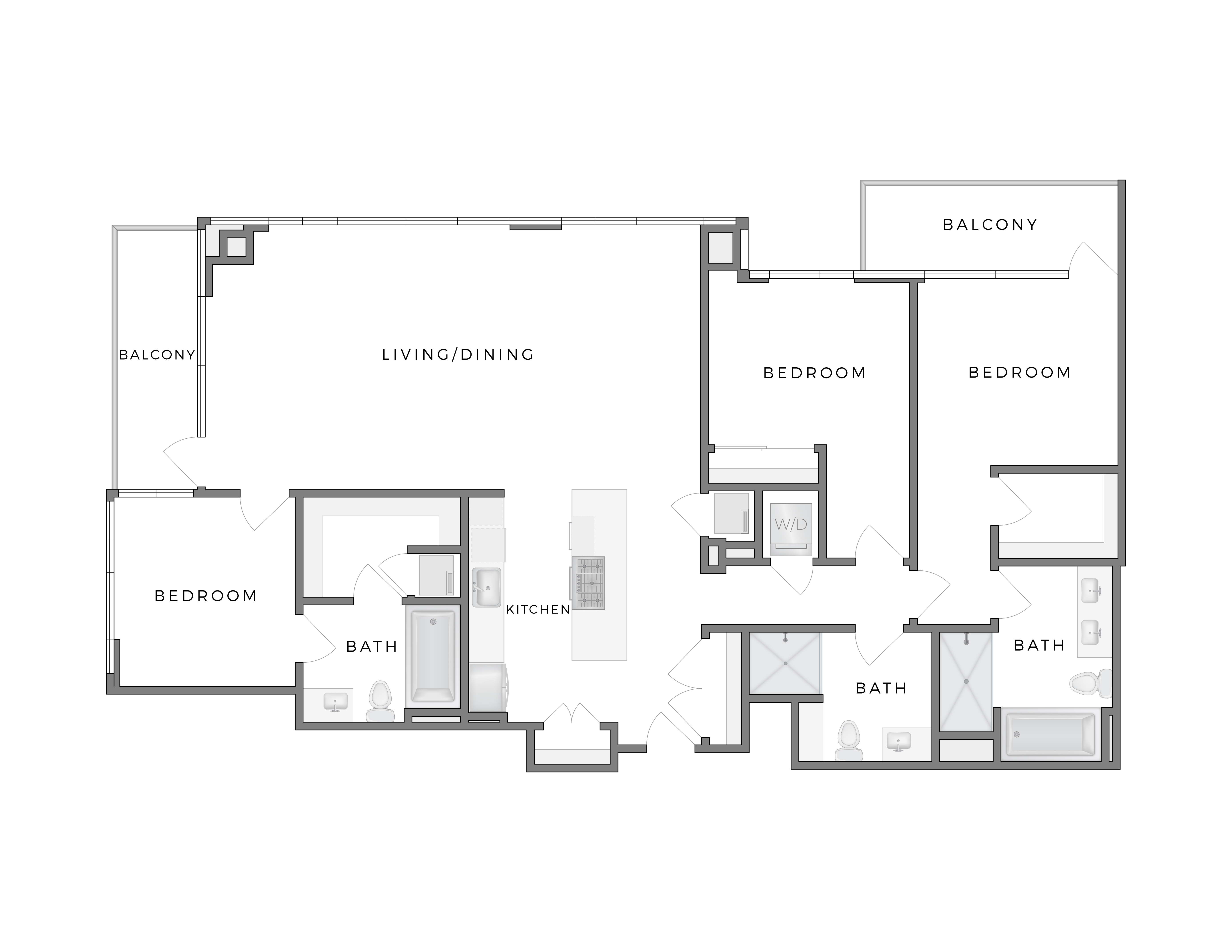 Atelier Warhol 7 apartment floorplan diagram with three bedrooms, three bathrooms, kitchen, living dining area and two patios