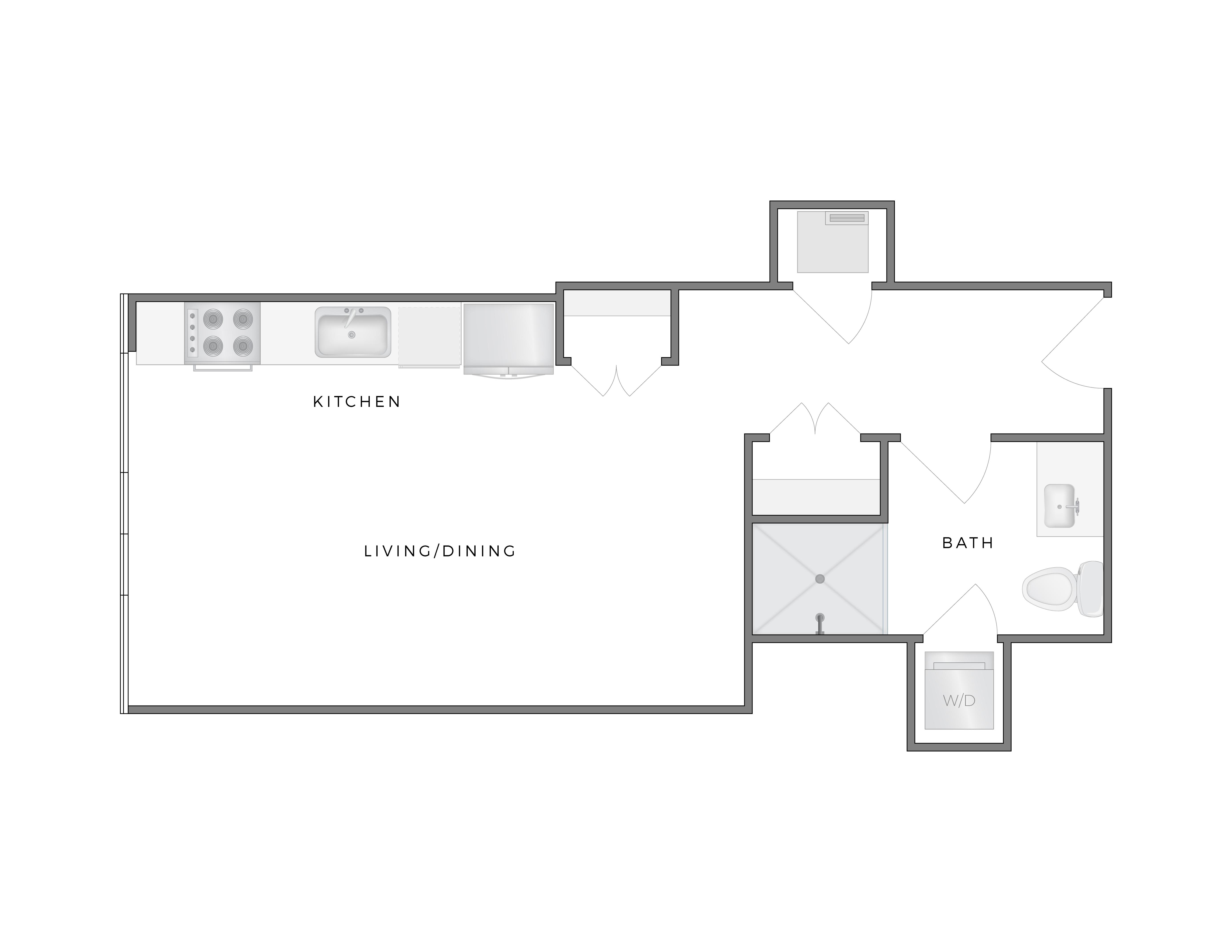 Stella studio apartment floorplan diagram at Atelier DTLA