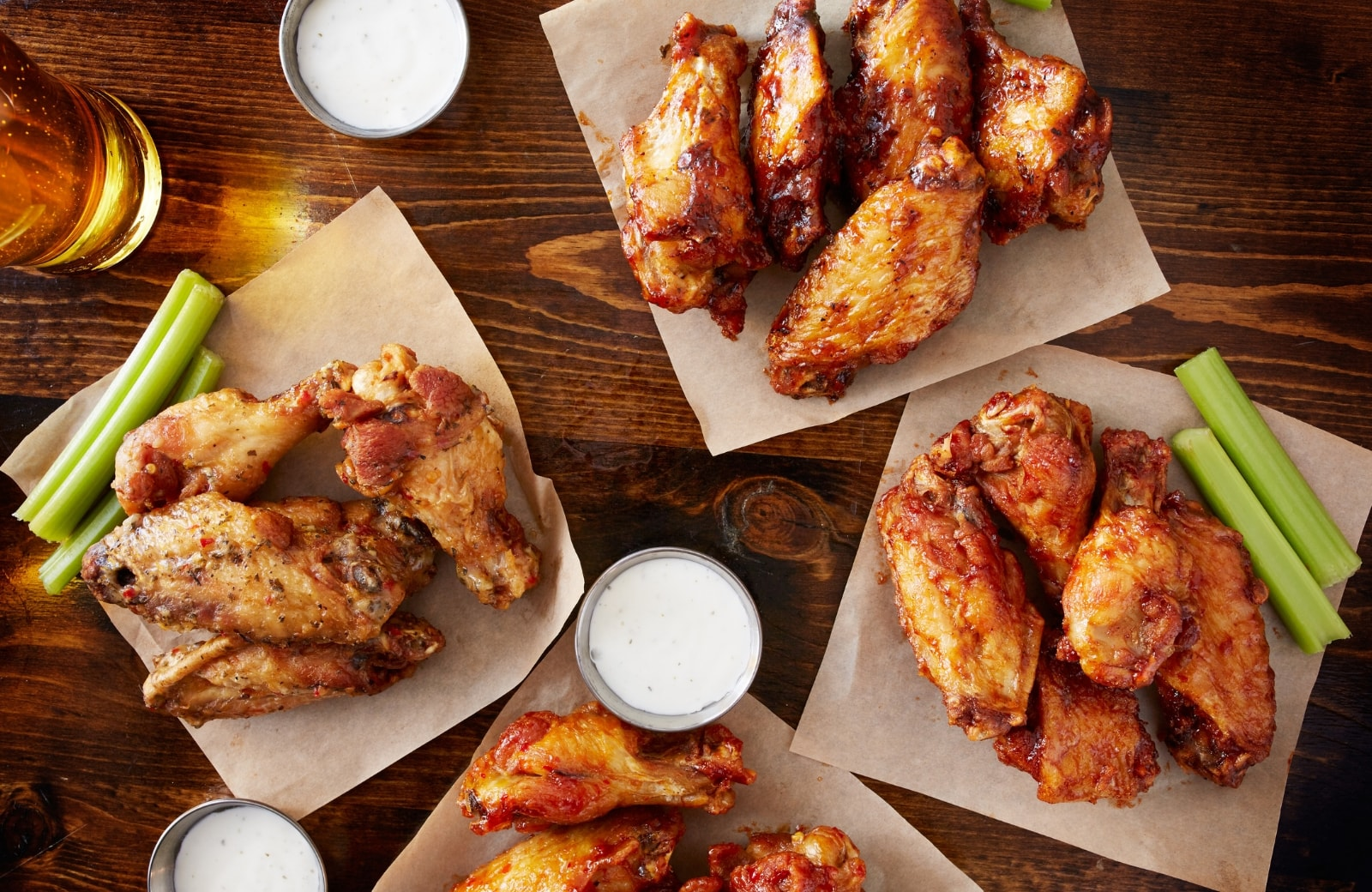 plates of chicken wings