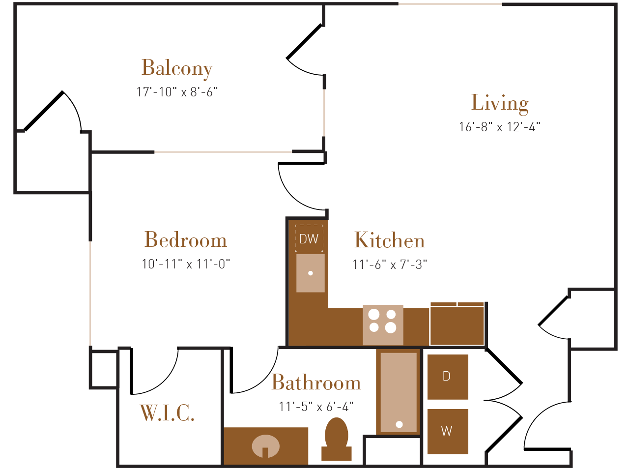 A Eight floor plan diagram. One bedroom, one bathroom, an open kitchen and living area, a balcony, and a washer dryer.