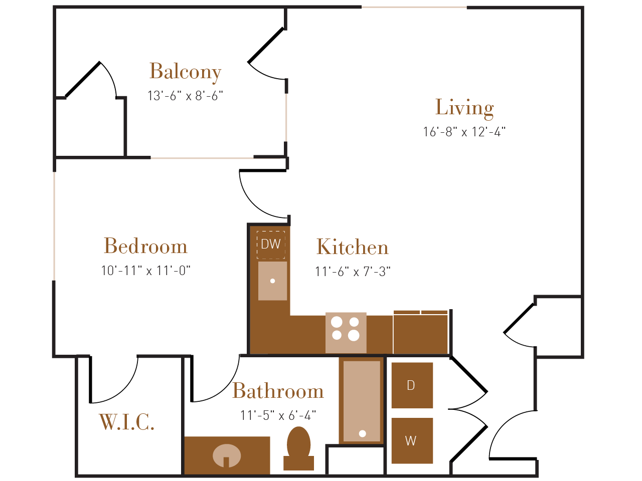 A Eight A floor plan diagram. One bedroom, one bathroom, an open kitchen and living area, a balcony, and a washer dryer.