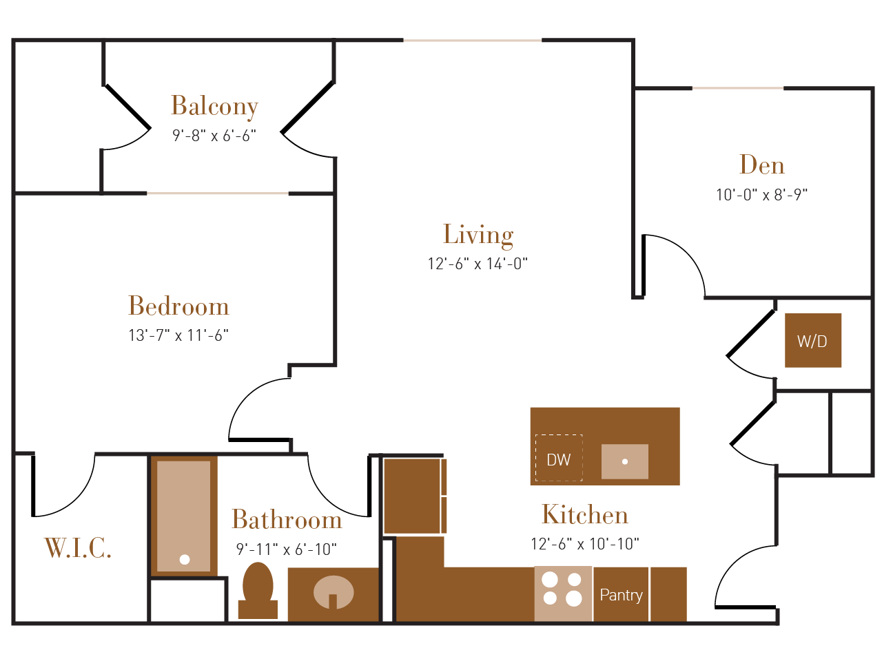 A Two floor plan diagram. One bedroom, one bathroom, a den, an open kitchen and living area, a balcony, and a washer dryer.