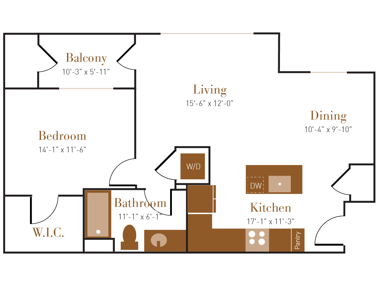 A Five floor plan diagram. One bedroom, one bathroom, an open kitchen dining and living area, a balcony, and a washer dryer.