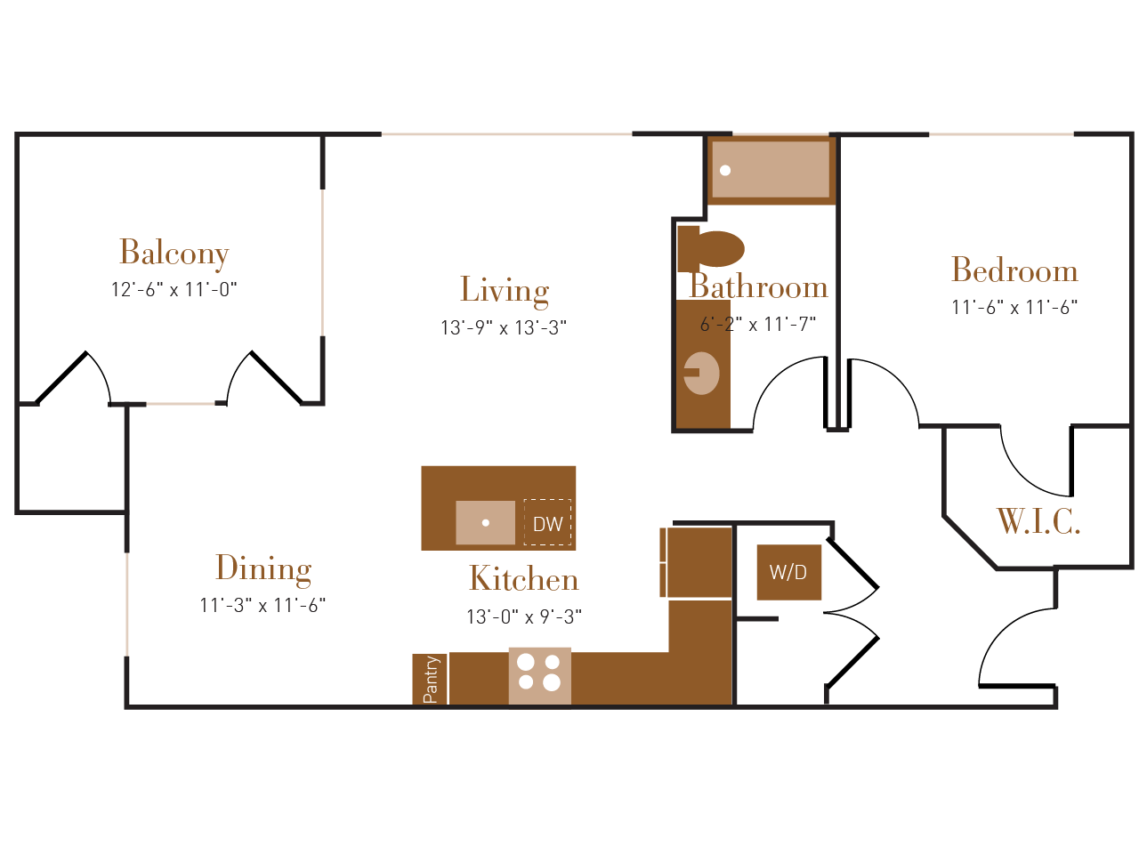 A Three floor plan diagram. One bedroom, one bathroom, an open kitchen dining and living area, a balcony, and a washer dryer.