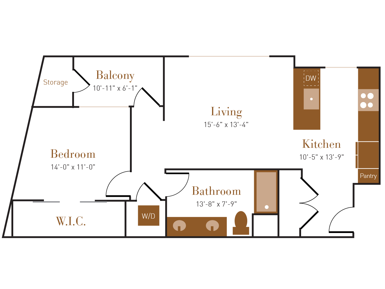 A Seven A floor plan diagram. One bedroom, one bathroom, an open kitchen and living area, a balcony, and a washer dryer.
